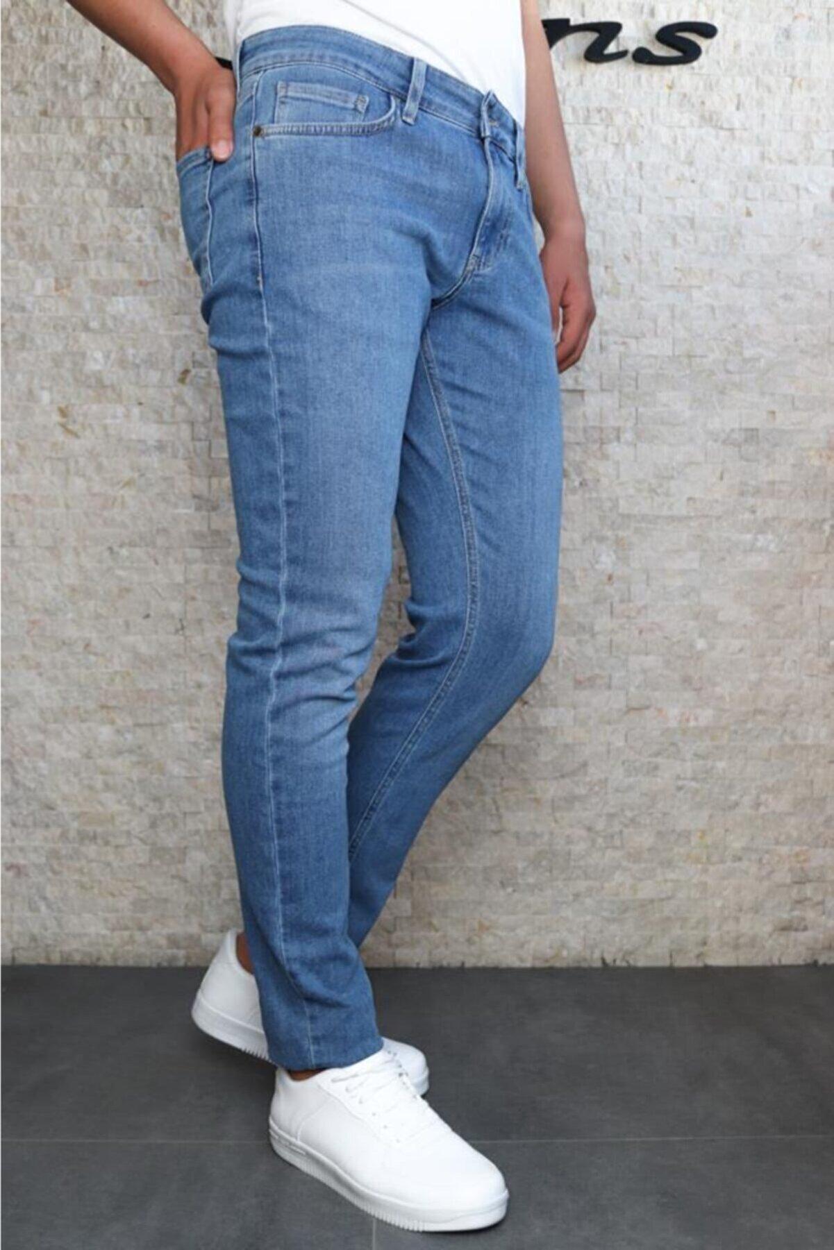 HLT JEANS Erkek Mavi Slim Fit Taşlamalı Kot Pantolon Hlthe001941