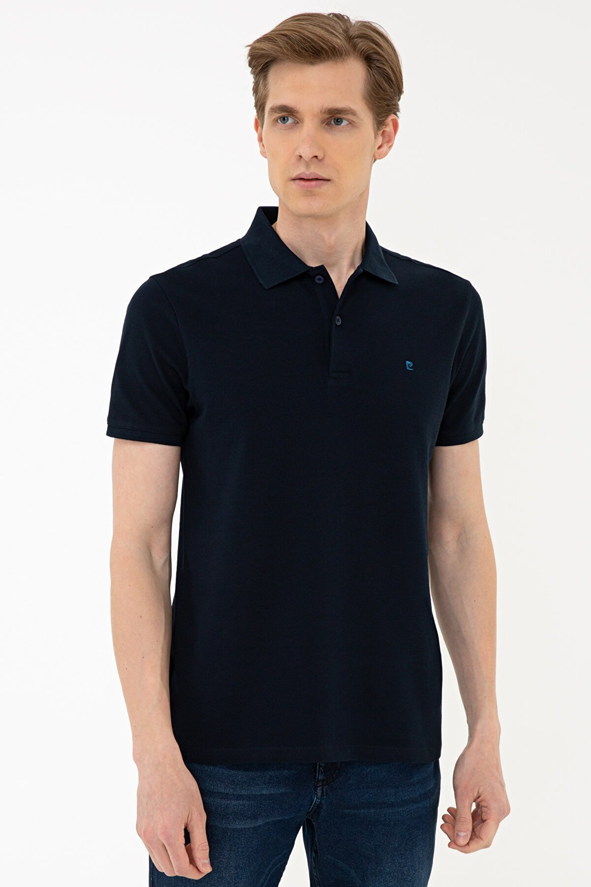 Pierre Cardin Koyu Lacivert Slim Fit Basic Polo Yaka T-Shirt