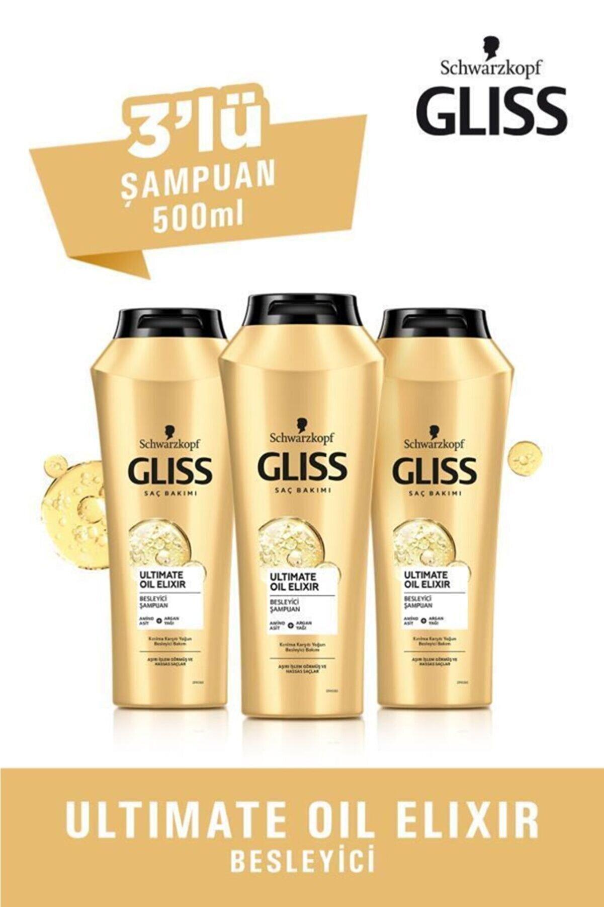 Gliss Ultimate Oil Elixir Besleyici Şampuan 500 ml 3'lü