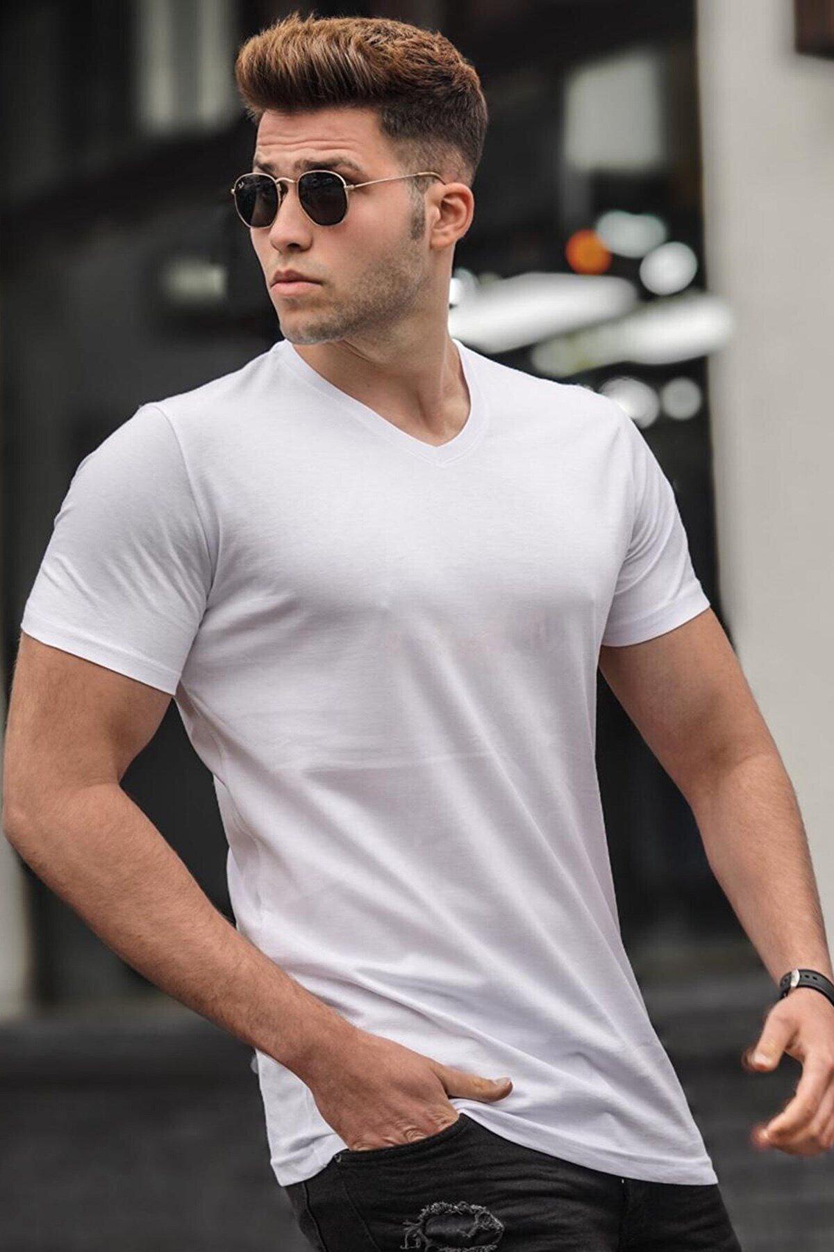 Madmext Erkek Beyaz  T-Shirt