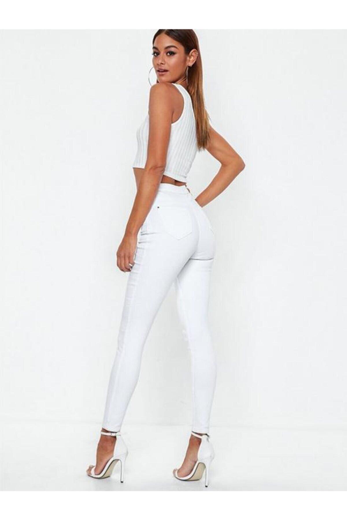 Terrenova Kadın Beyaz Yüksek Bel Düz Jeans