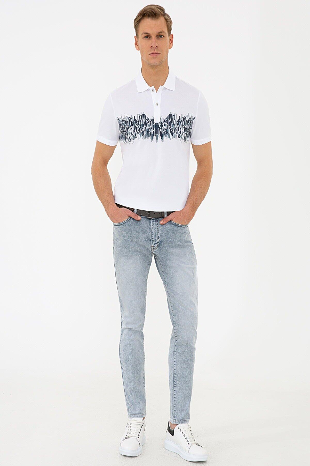 Pierre Cardin Beyaz Slim Fit Polo Yaka T-Shirt
