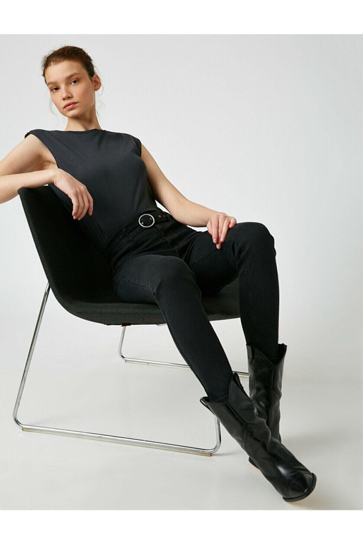 Koton Kadın Siyah Pamuklu Skinny Yüksek Bel Jeans