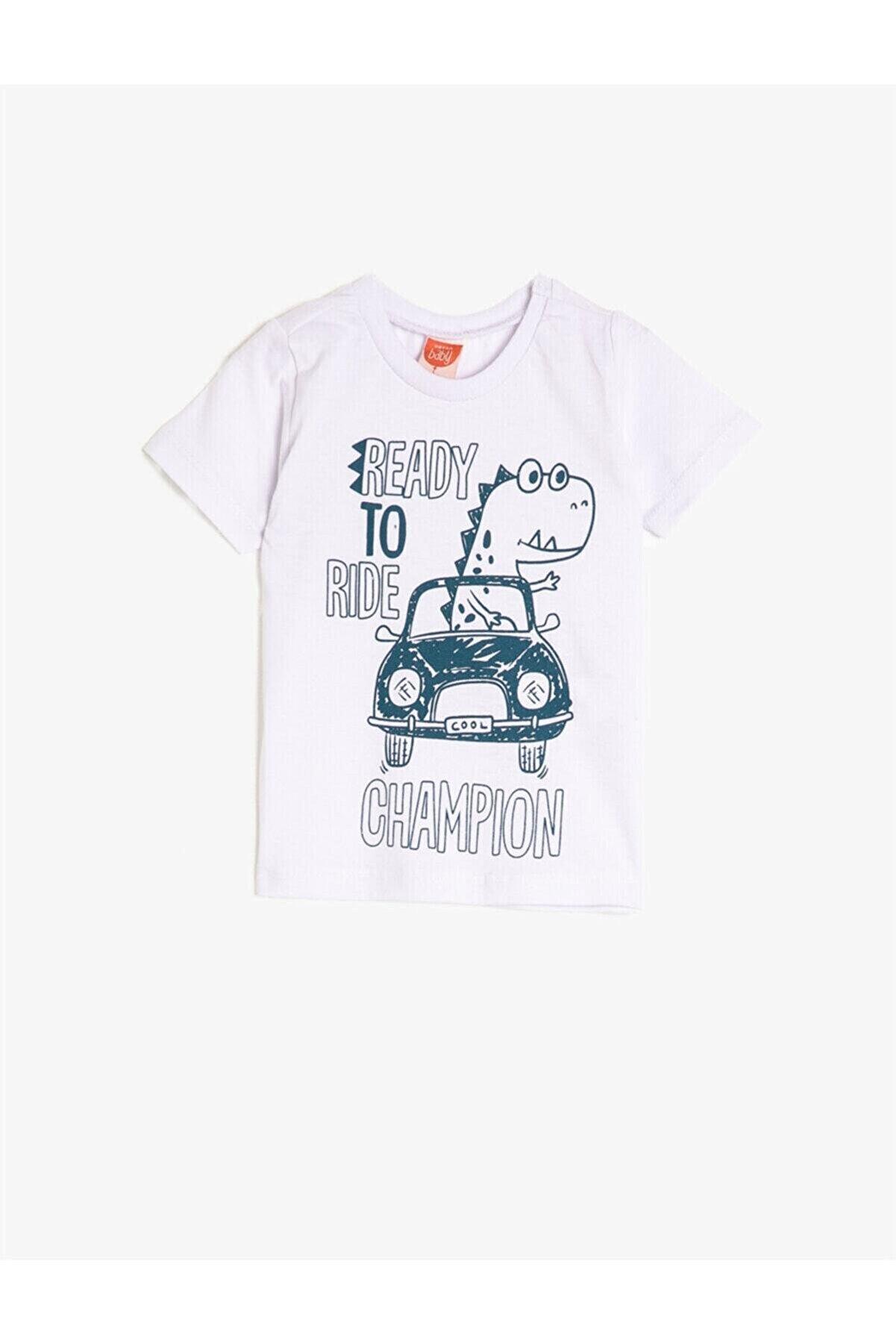 Koton Erkek Bebek Beyaz Kısa Kollu Bisiklet Yaka Baskili T-Shirt