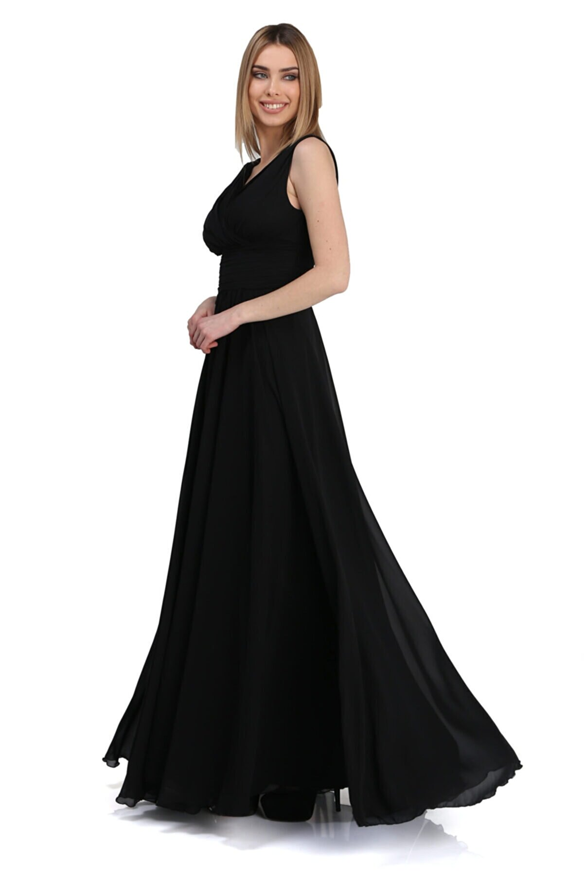 Pierre Cardin Carmen Siyah Şifon V Yaka Uzun Abiye Elbise