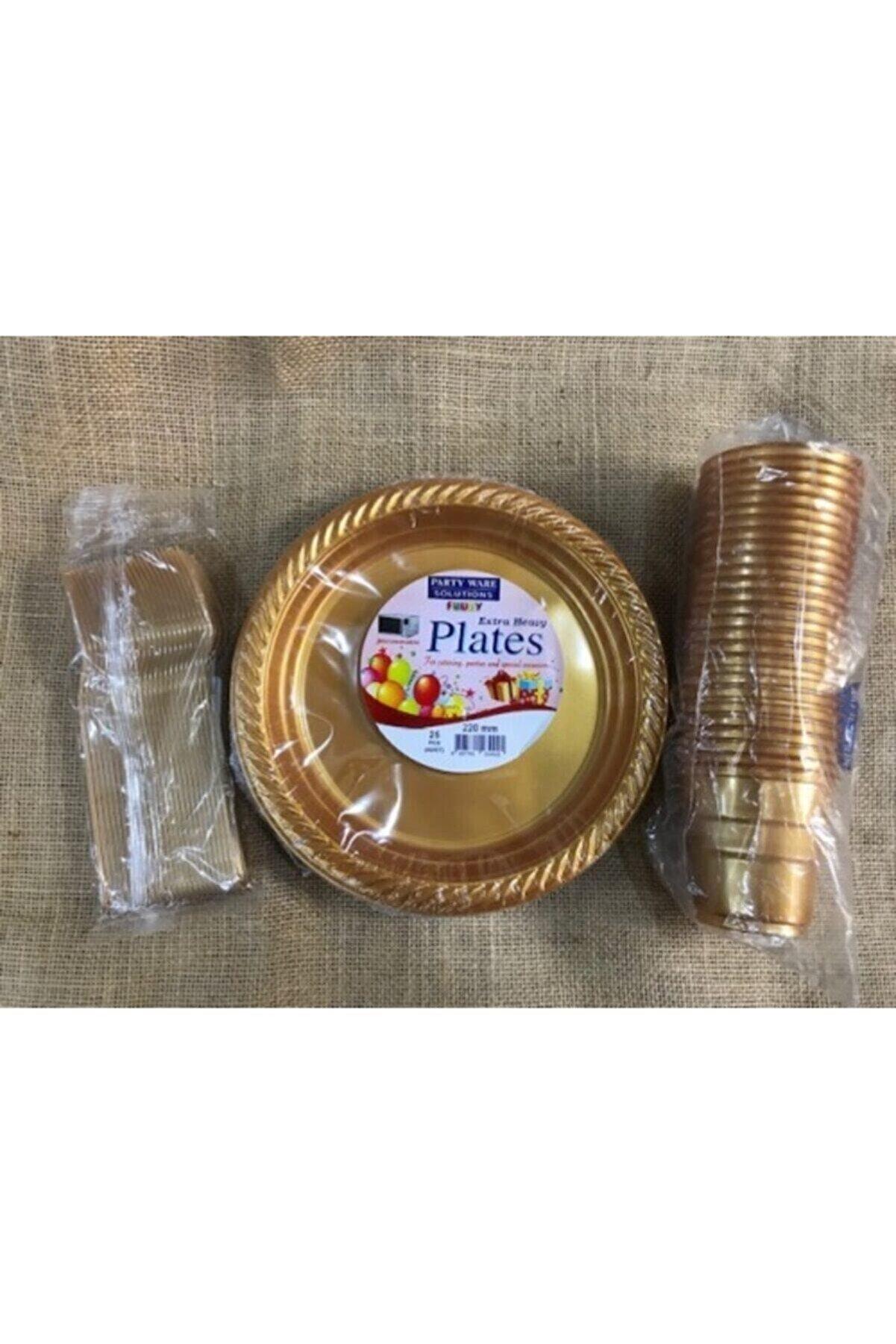Deniz Party Store Gold Altın Tabak Bardak Çatal Set Plastik 25 Kişilik