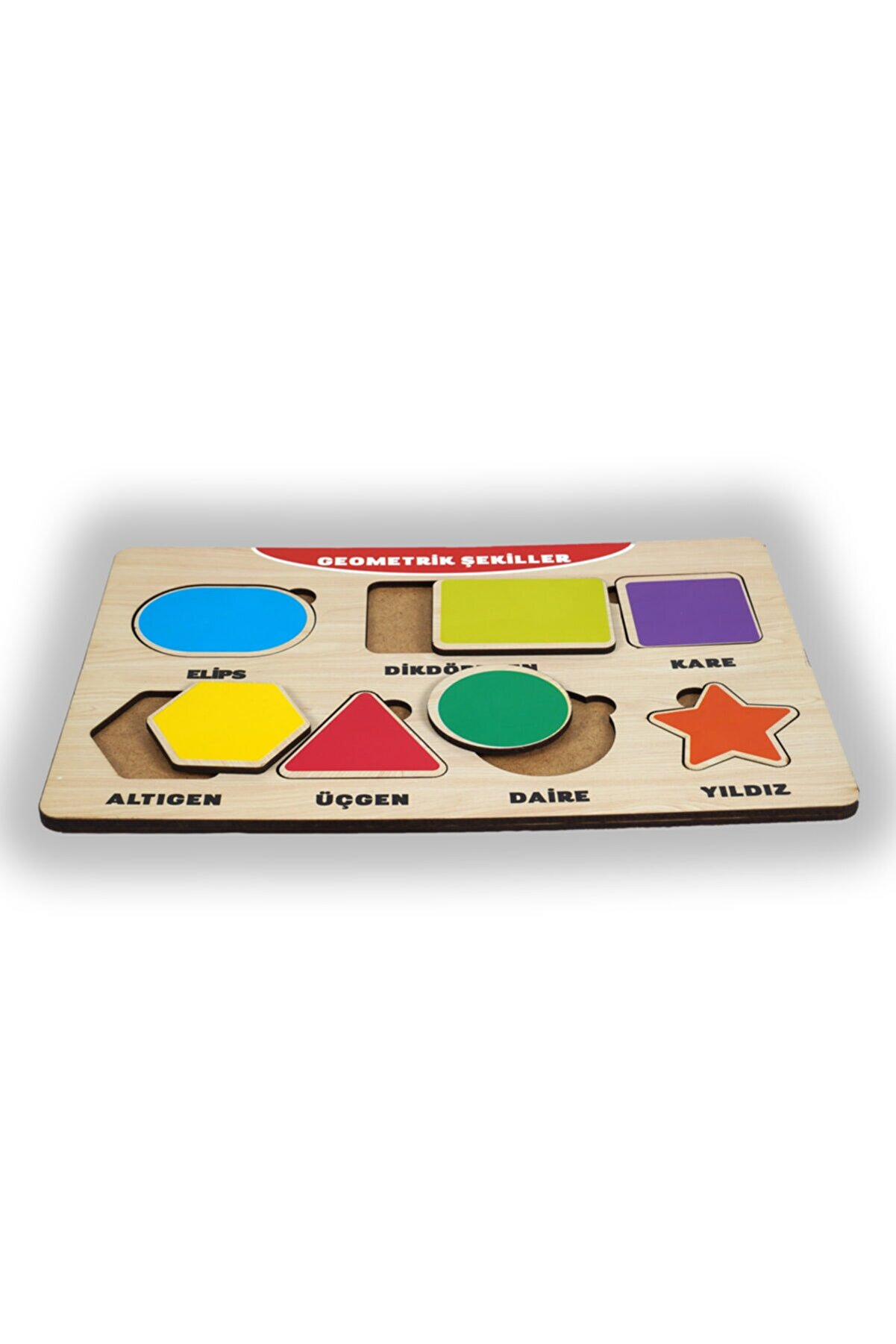 PEÇETE DÜNYASI 7 Parça Ahşap Puzzle Şekiller Bul Tak Çocuk Oyuncak