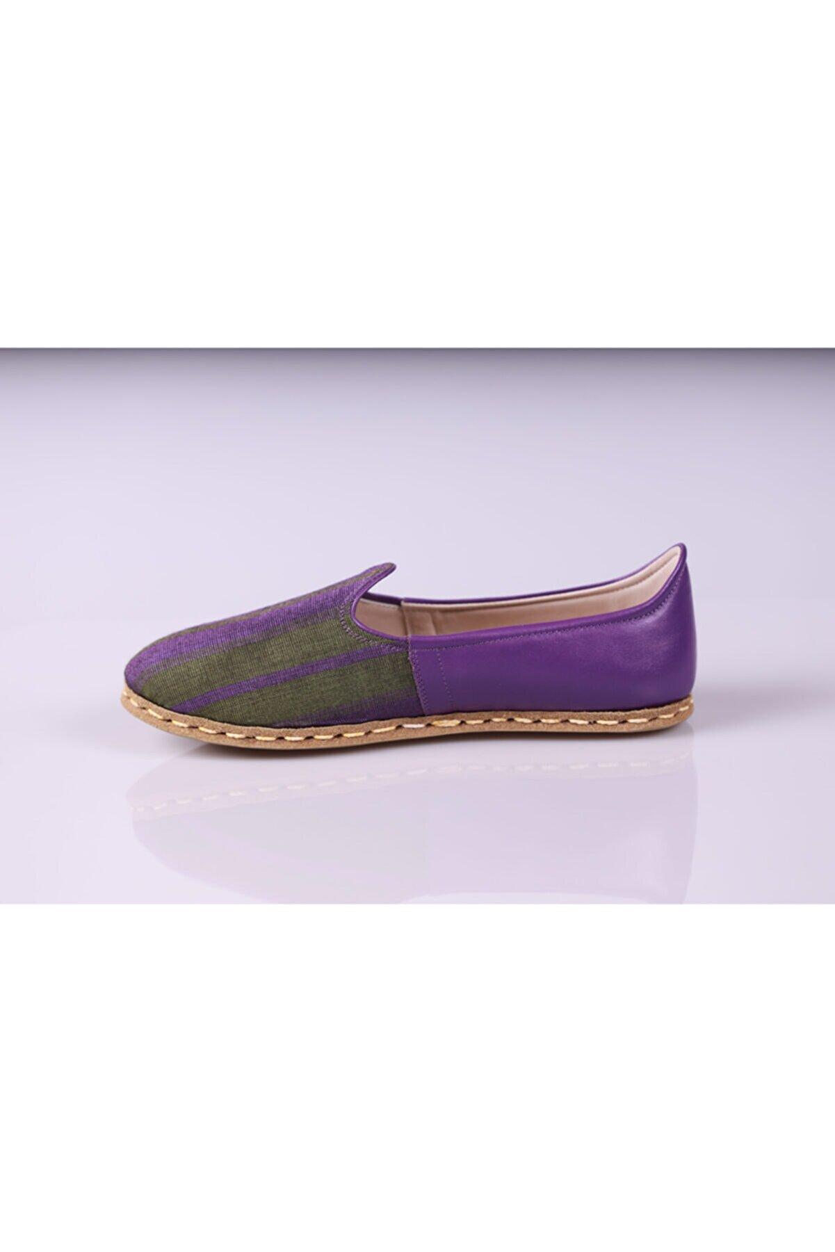 ilyada handmade shoes Kadın Mor Hakiki Deri El Yapımı Kutnu Kaplama Yazlık Ayakkabı