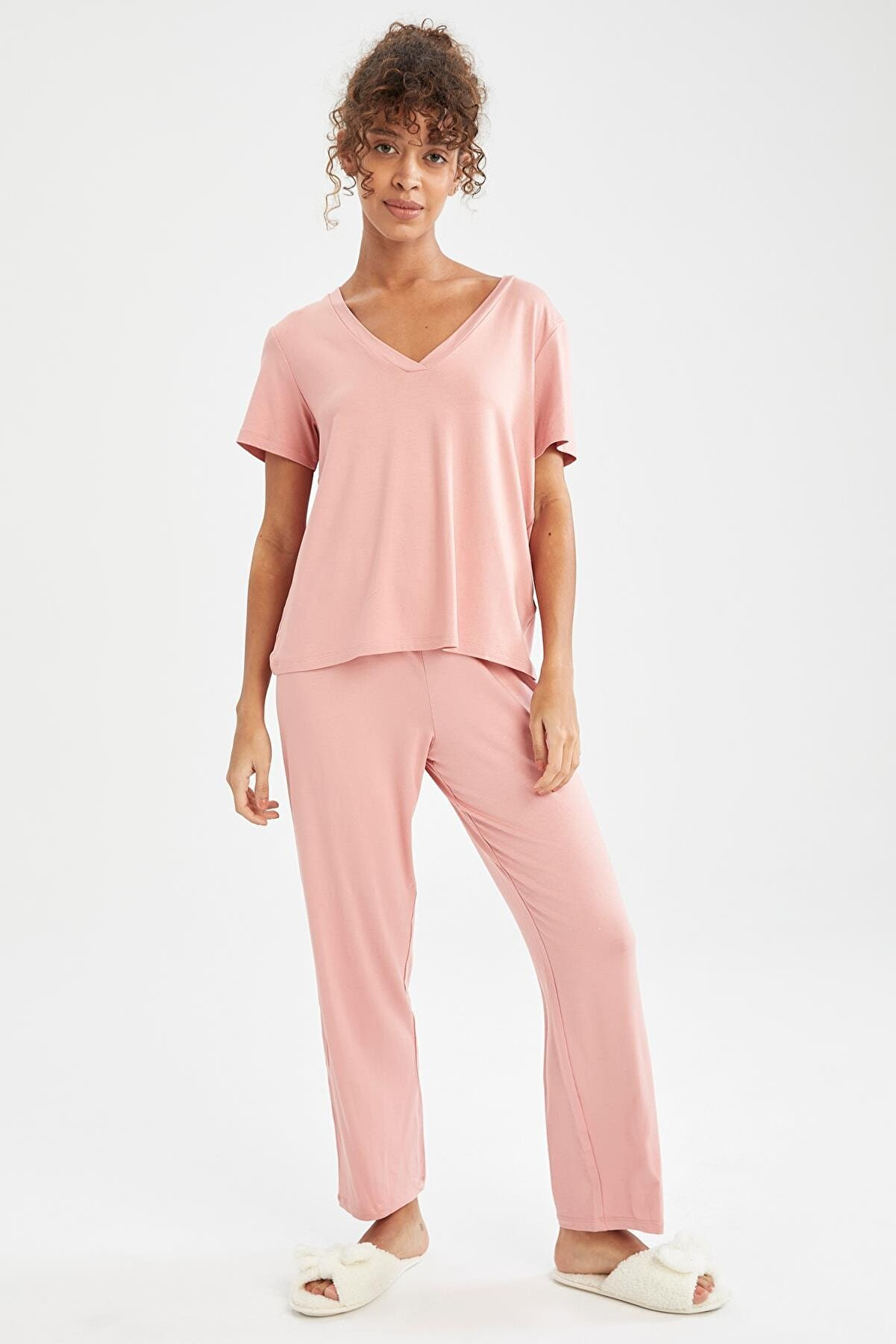 Defacto Kadın Bordo Basic Kısa Kollu Relax Fit Pijama Takımı U8298AZ21SM