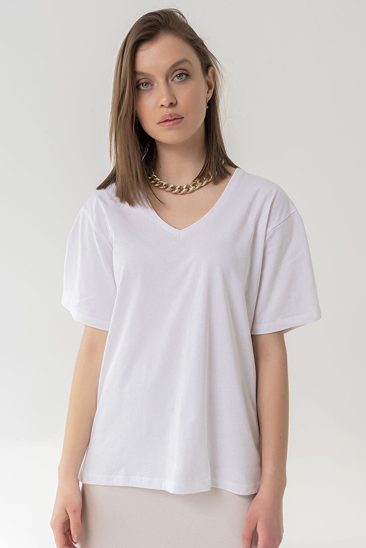 Bases Kadın Beyaz Pamuklu V Yaka Boyfriend Oversize Örme T-Shirt