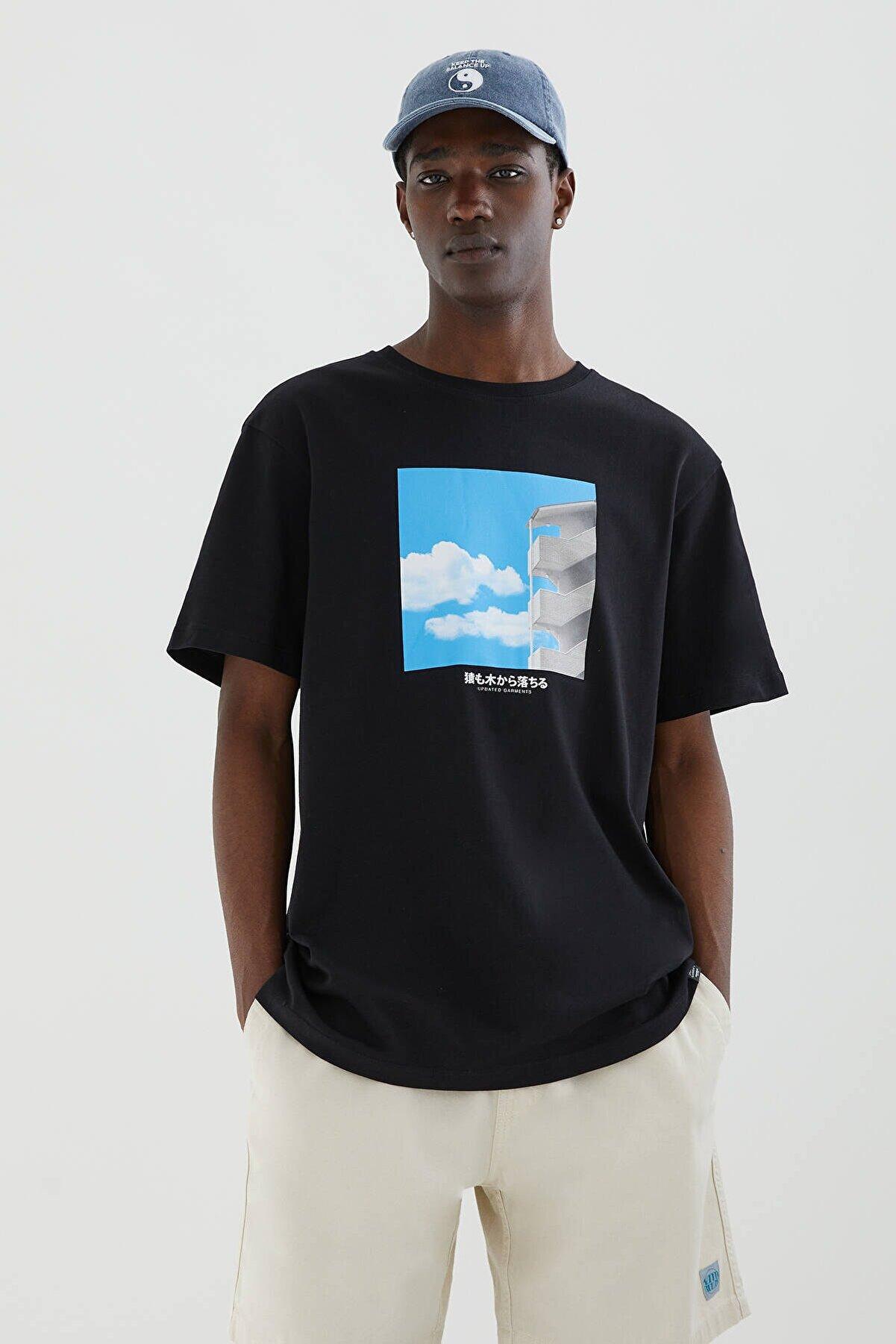 Pull & Bear Bina Fotoğrafı Baskılı Siyah T-Shirt