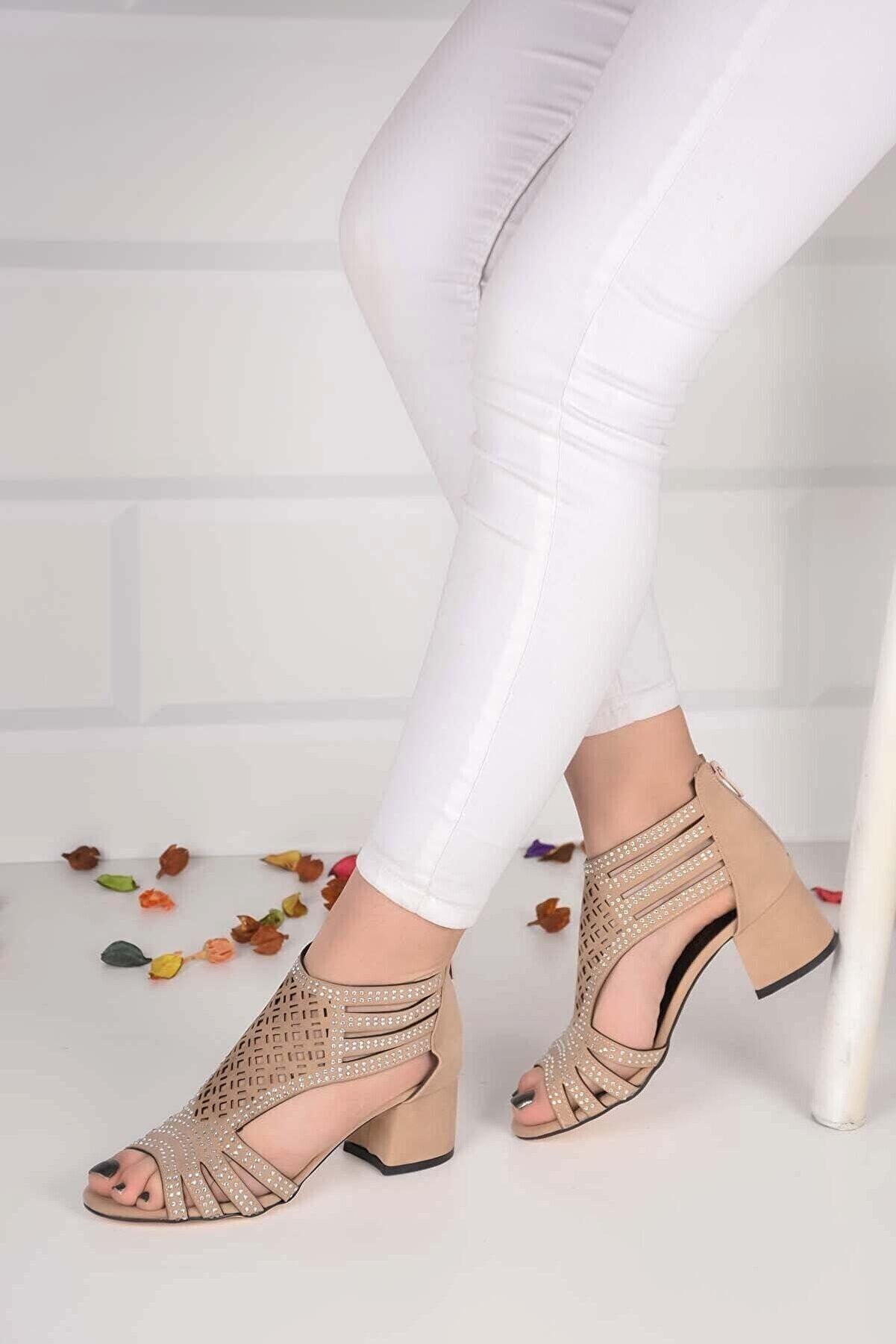 mihra home Kadın Krem Kalın Topuklu Taşlı Sandalet