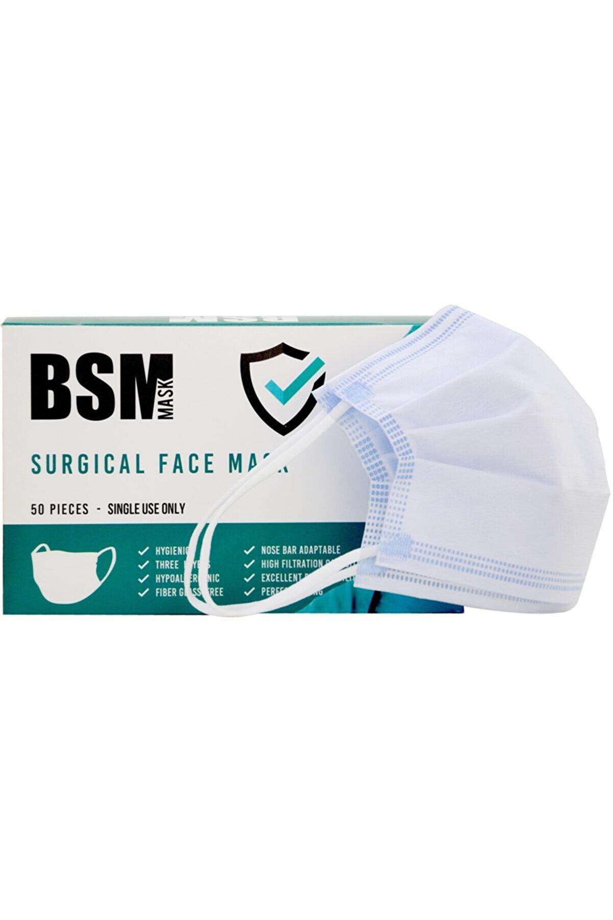 BSM Mavi 3 Katlı Yassı Lastikli Meltblown Cerrahi Maske Toplam 50 Adet