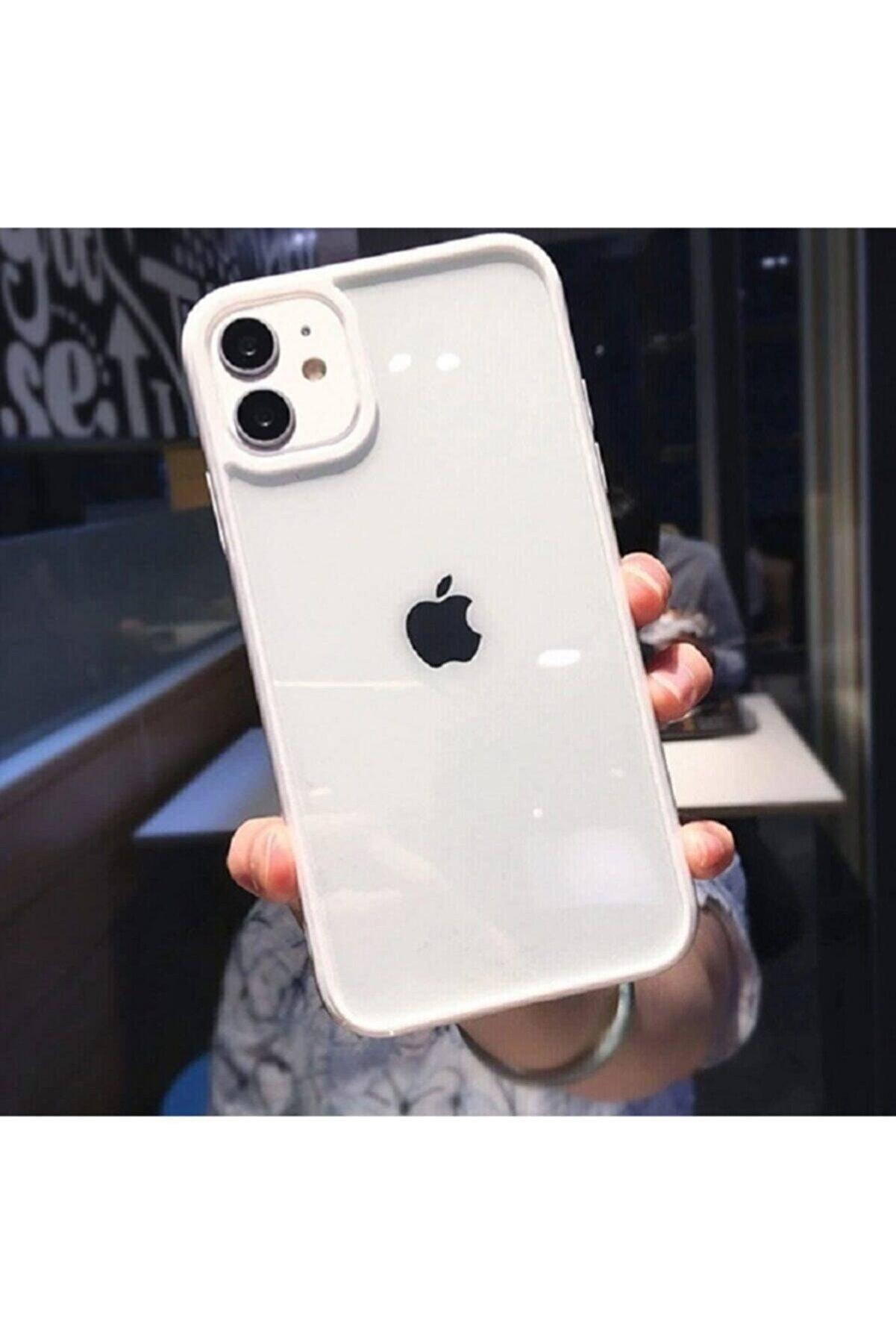 Go Aksesuar Apple Iphone 11 Uyumlu Kenarı Beyaz Renkli Darbe Önleyici Şeffaf Silikon Kılıf