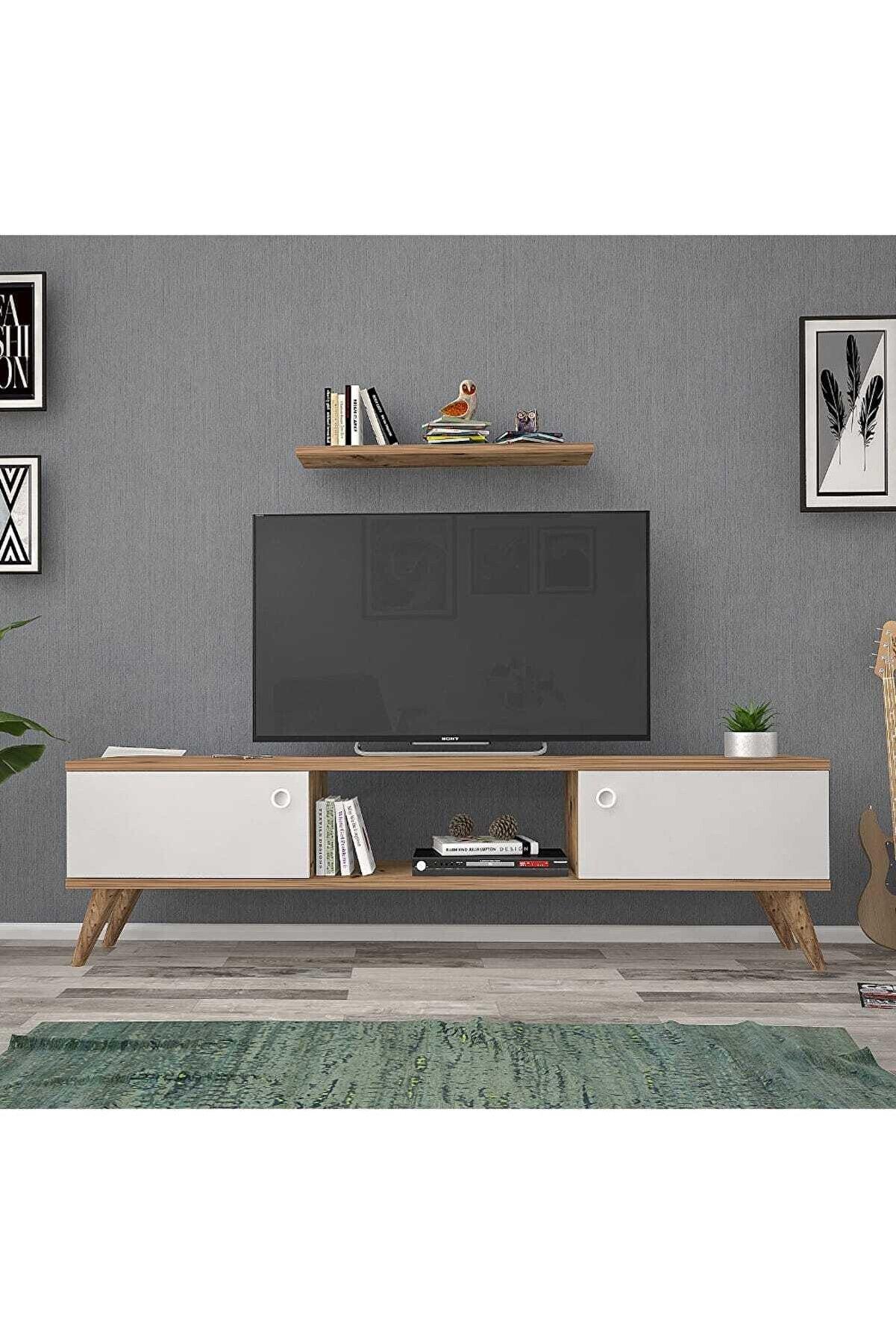 Mbes Mobilya 140 Cm Eda Atlantik -beyaz Tv Ünitesi