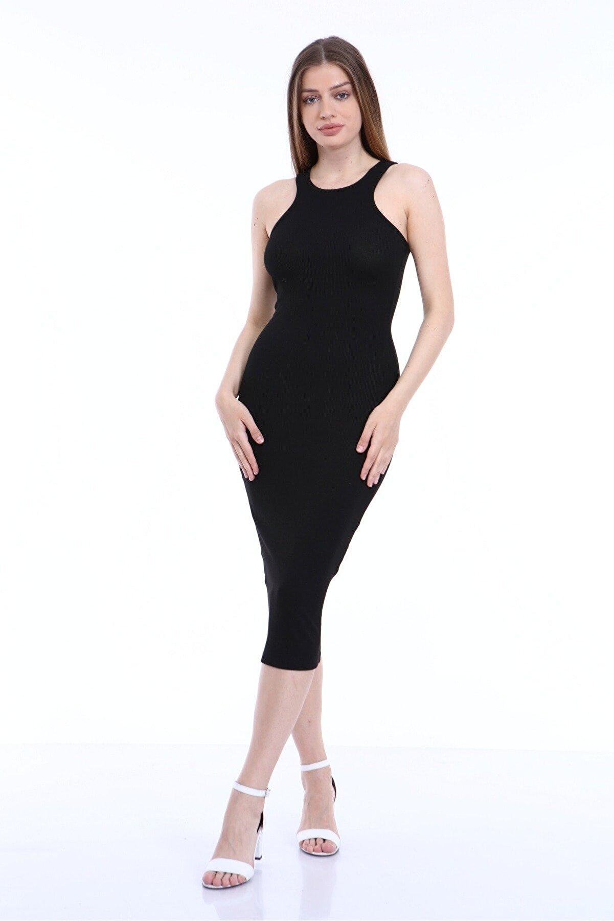 KİM Kİ O Kadın Siyah Kolsuz Uzun Elbise