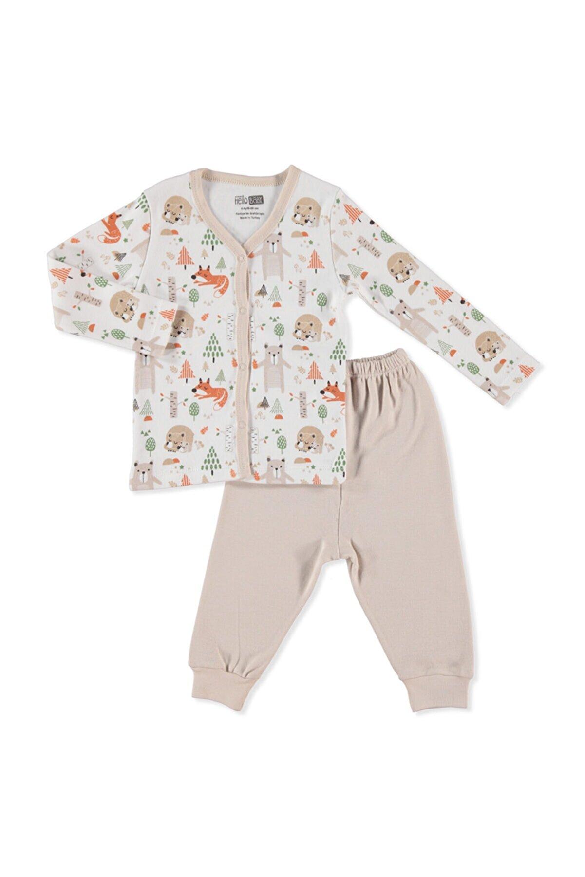 HelloBaby Erkek Bebek Bej Çıtçıtlı Pijama Takımı