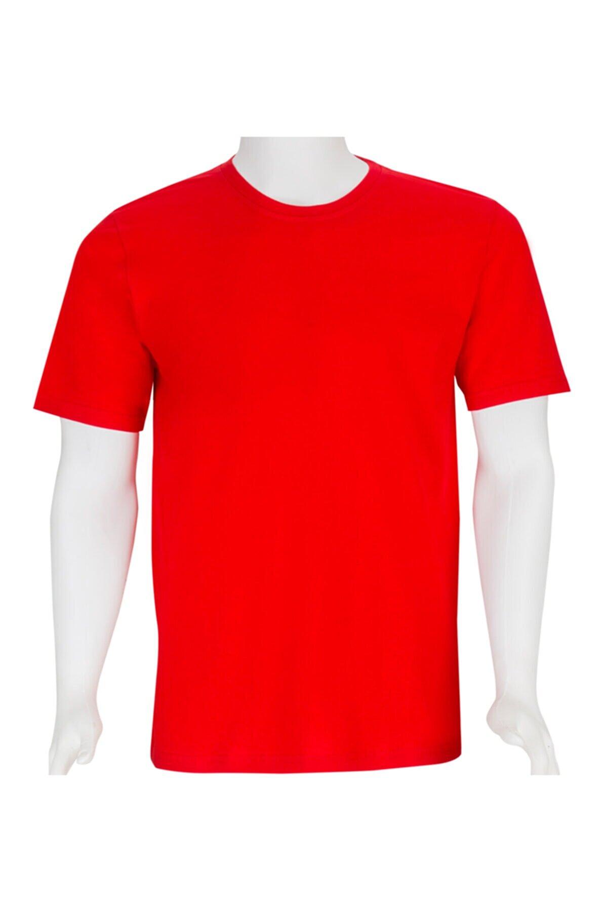 REM İŞ KIYAFETLERİ Bisiklet Yaka Kırmızı Tişört