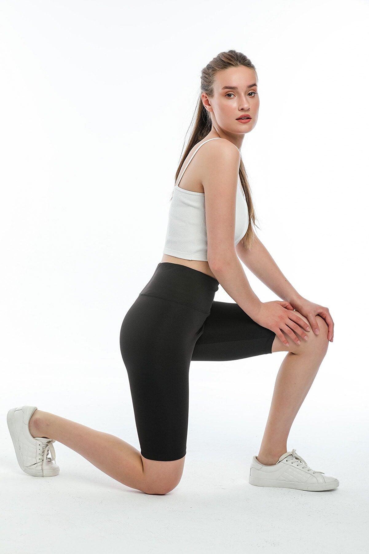 H&T TIGER Kadın Siyah Kısa Sporcu Tayt