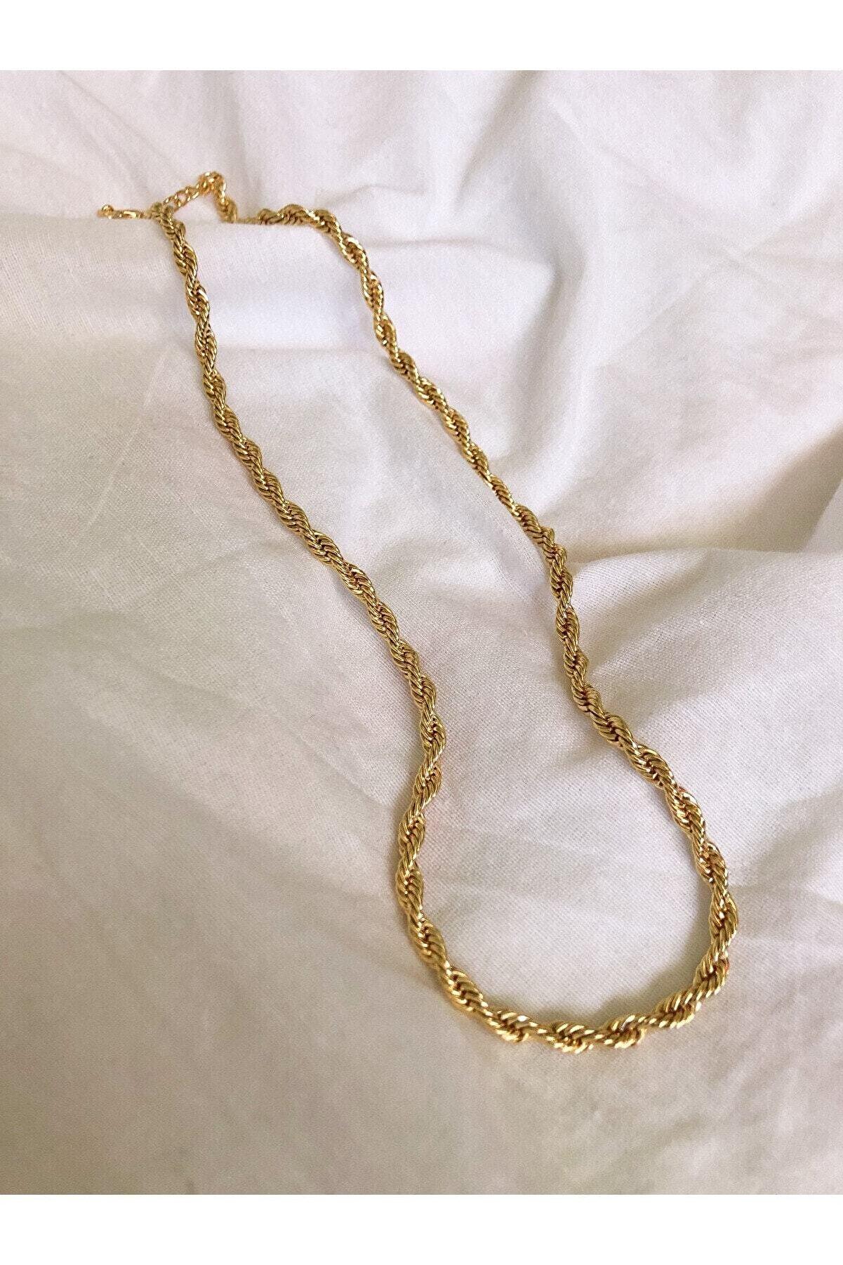 The Y Jewelry Altın Kaplama Burgu Zincir Kolye