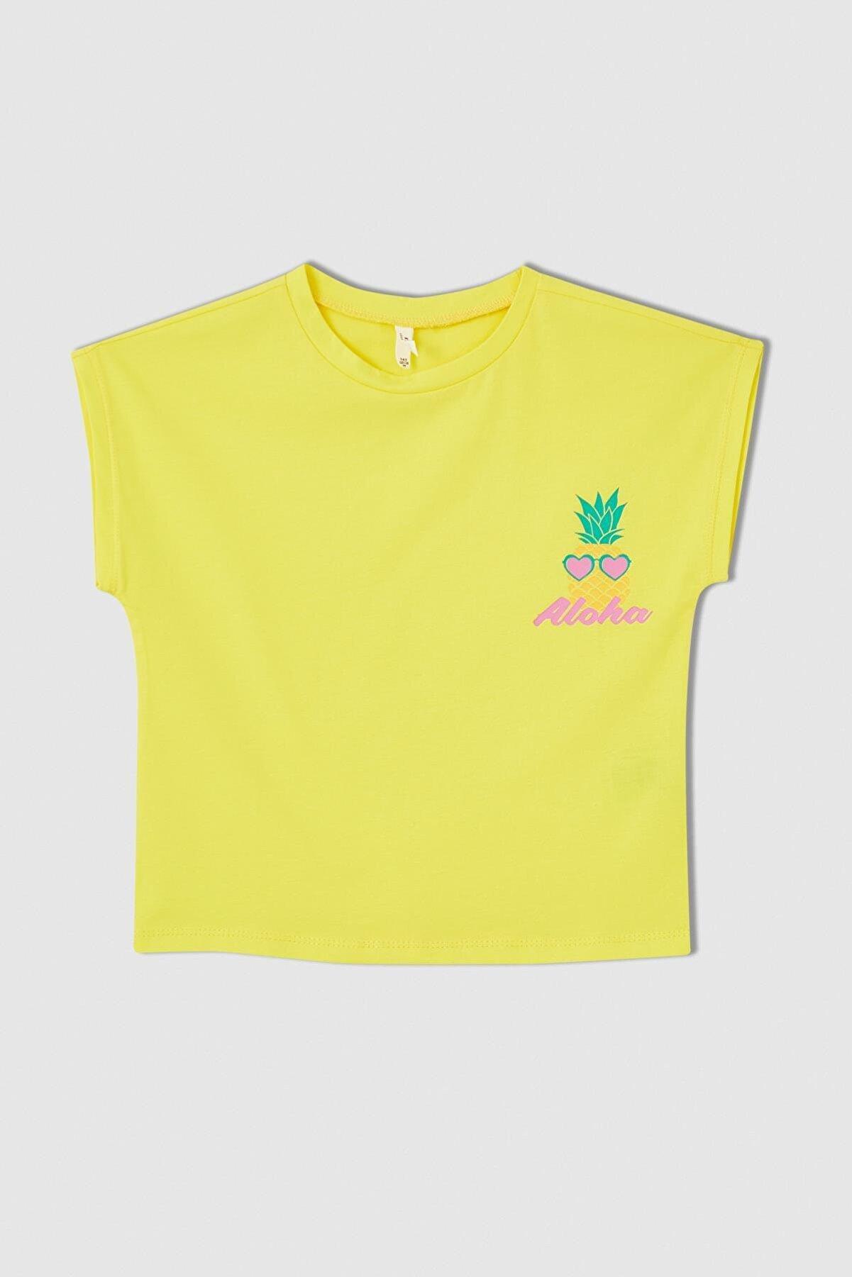 Defacto Kız Çocuk Ananas Baskılı Kısa Kollu Pamuklu Tişört