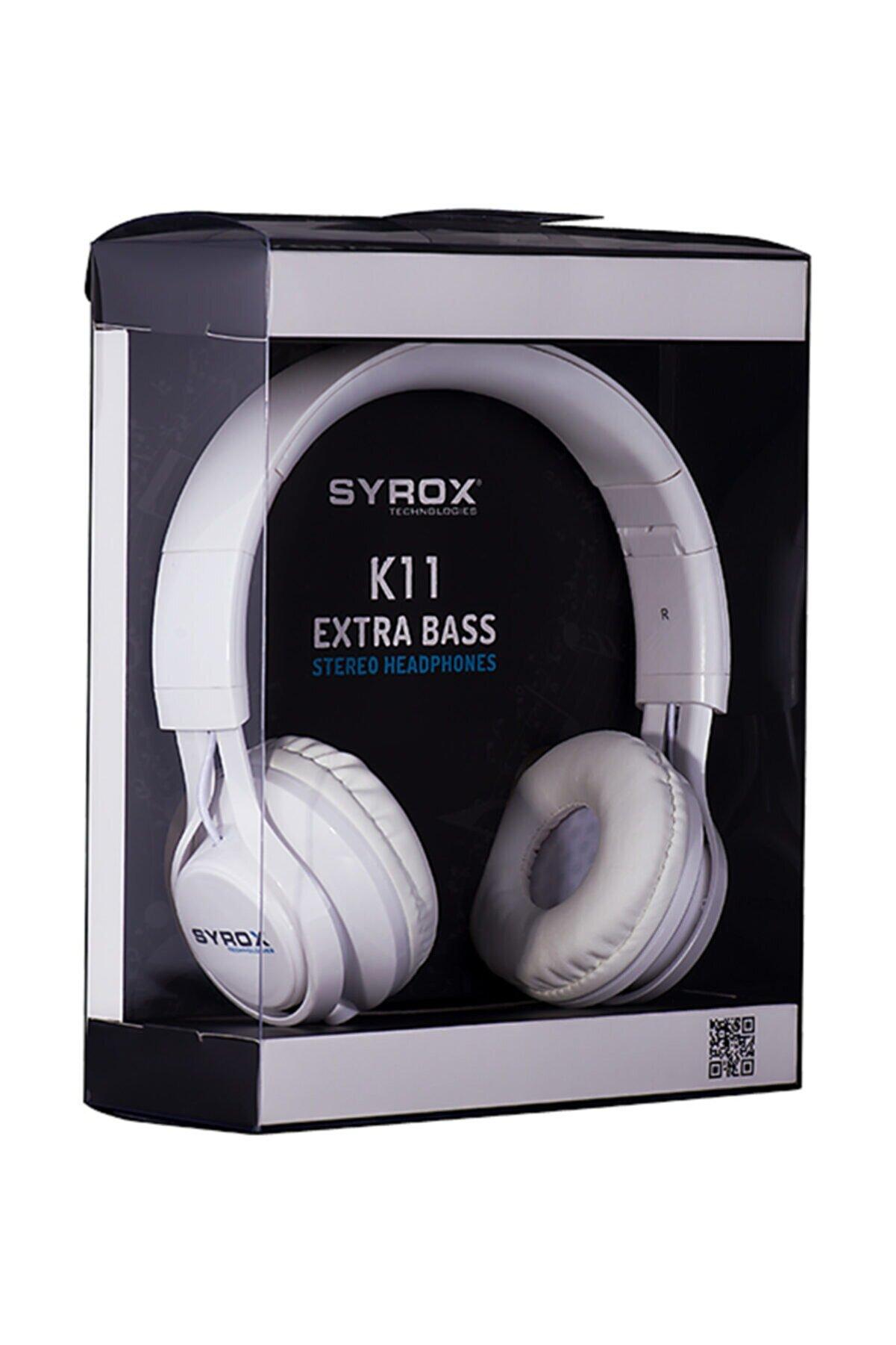 Syrox Beyaz K11 Mikrofonlu Stereo Kablolu Kulak Üstü Kulaklık