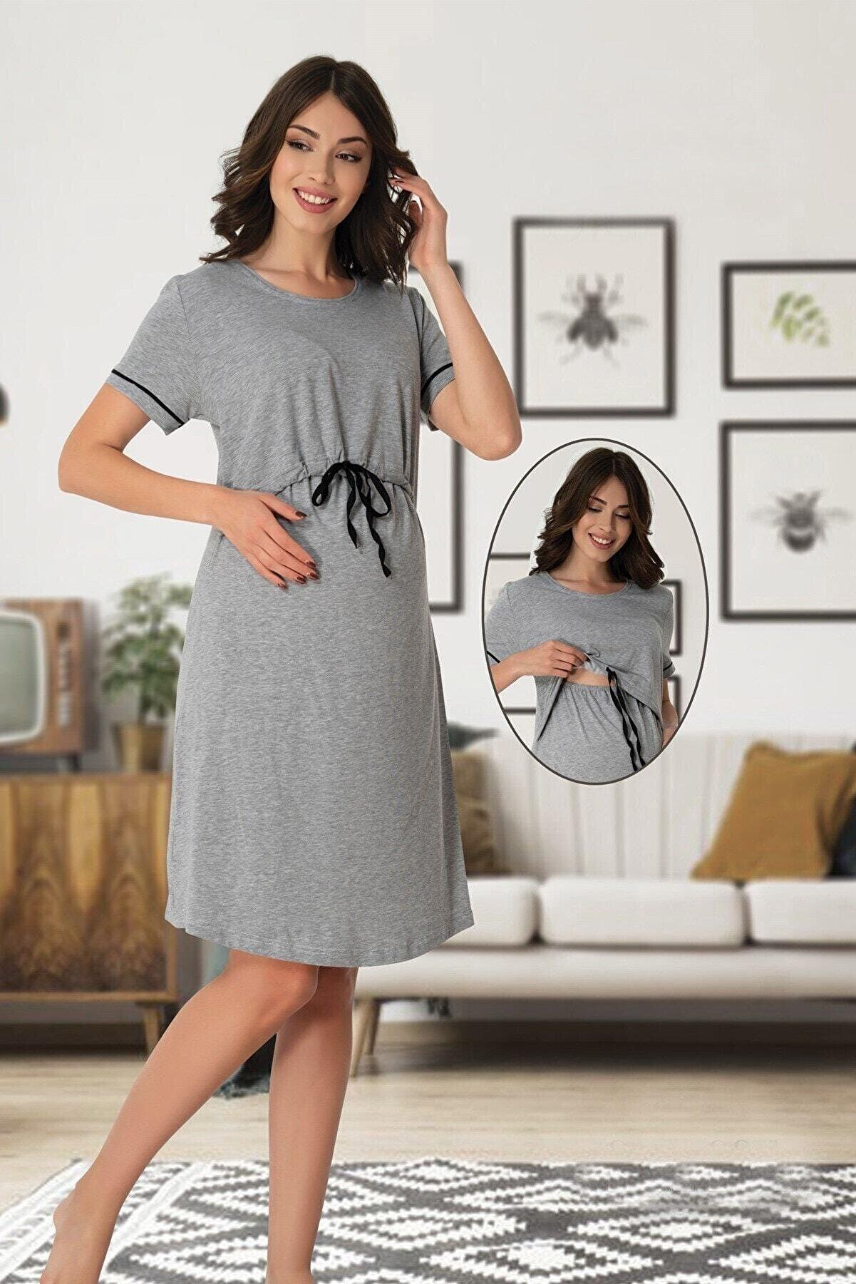 Effort Pijama Lohusahamile Emzirme Özellikli Gri Hamile Elbise 8070