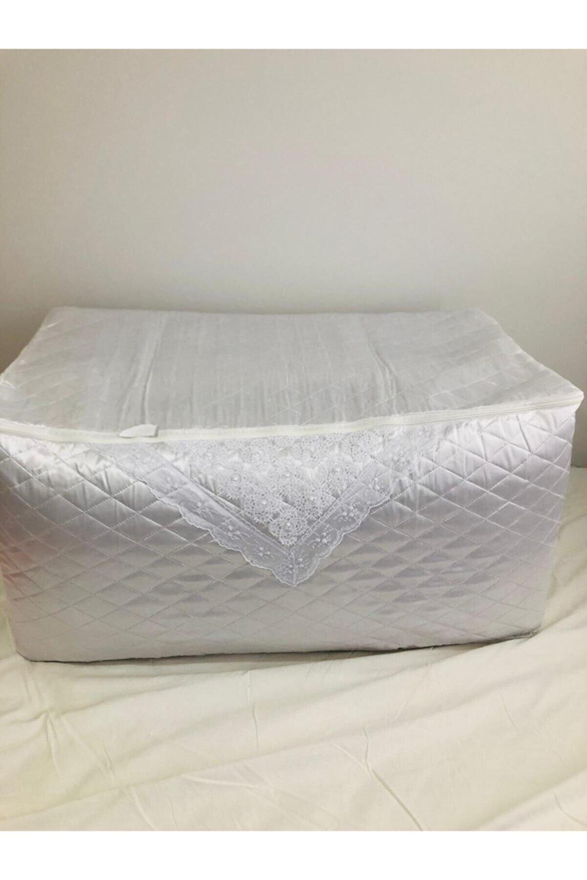 Işık Tekstil Yorgan Hurcu Incili Saten Çeyizlik Beyaz Rengi 2 Adet 50x50x100 Ölç.büyük Boy