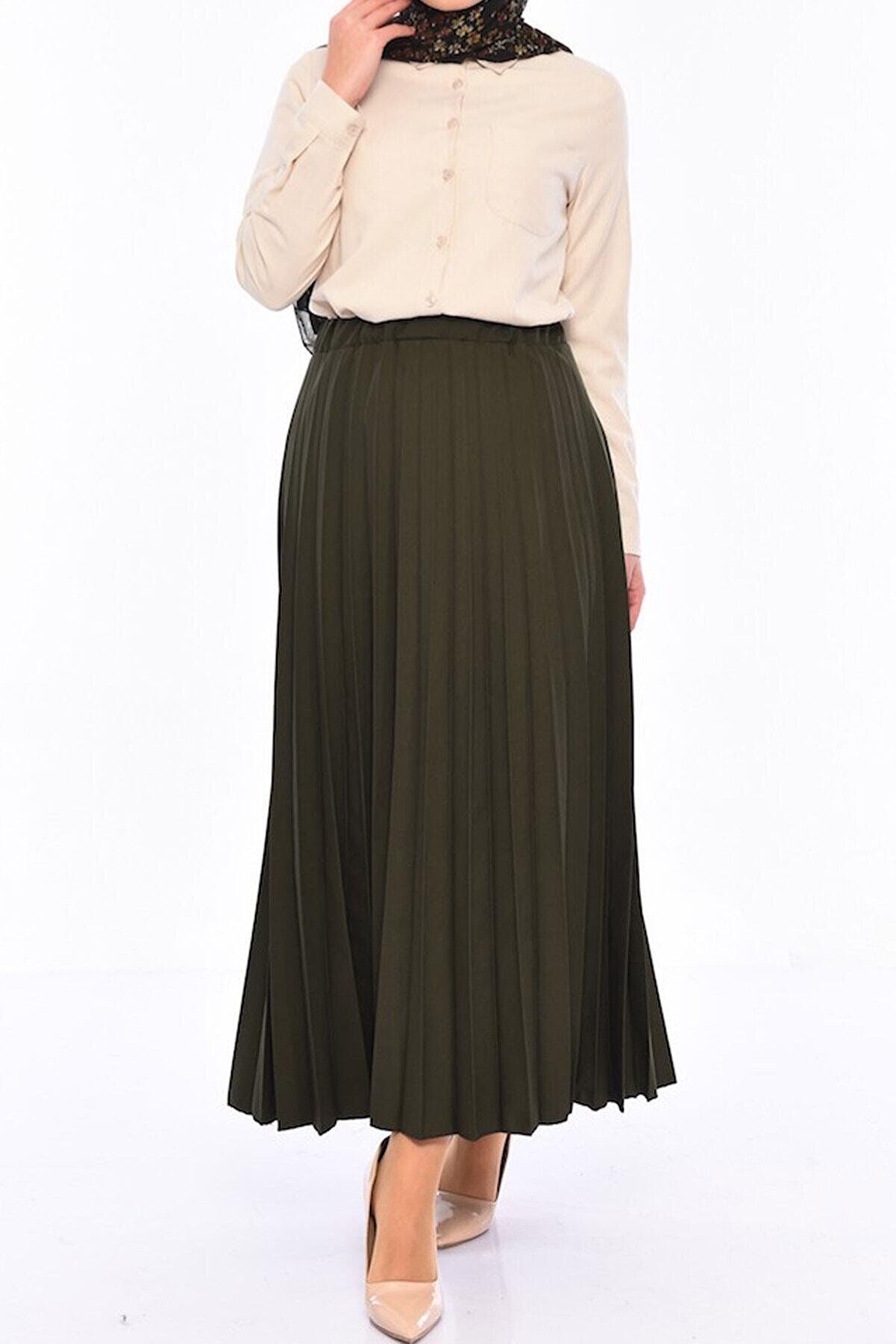 Essah Moda Kadın Yeşil Piliseli Uzun Etek - Me000223