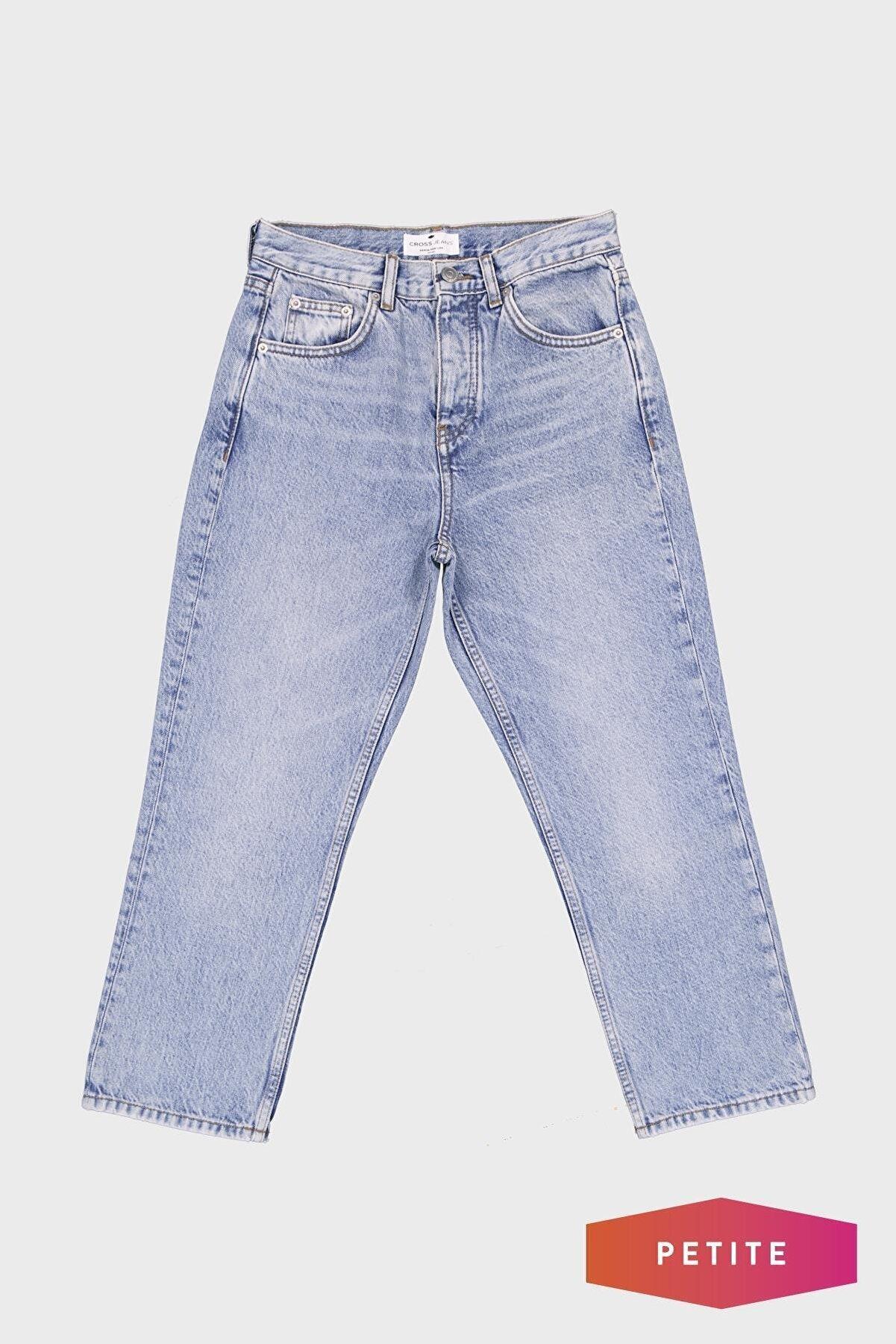 CROSS JEANS Kadın Mavi Yüksek Bel Straight Fit Patı Düğmeli Jean Pantolon