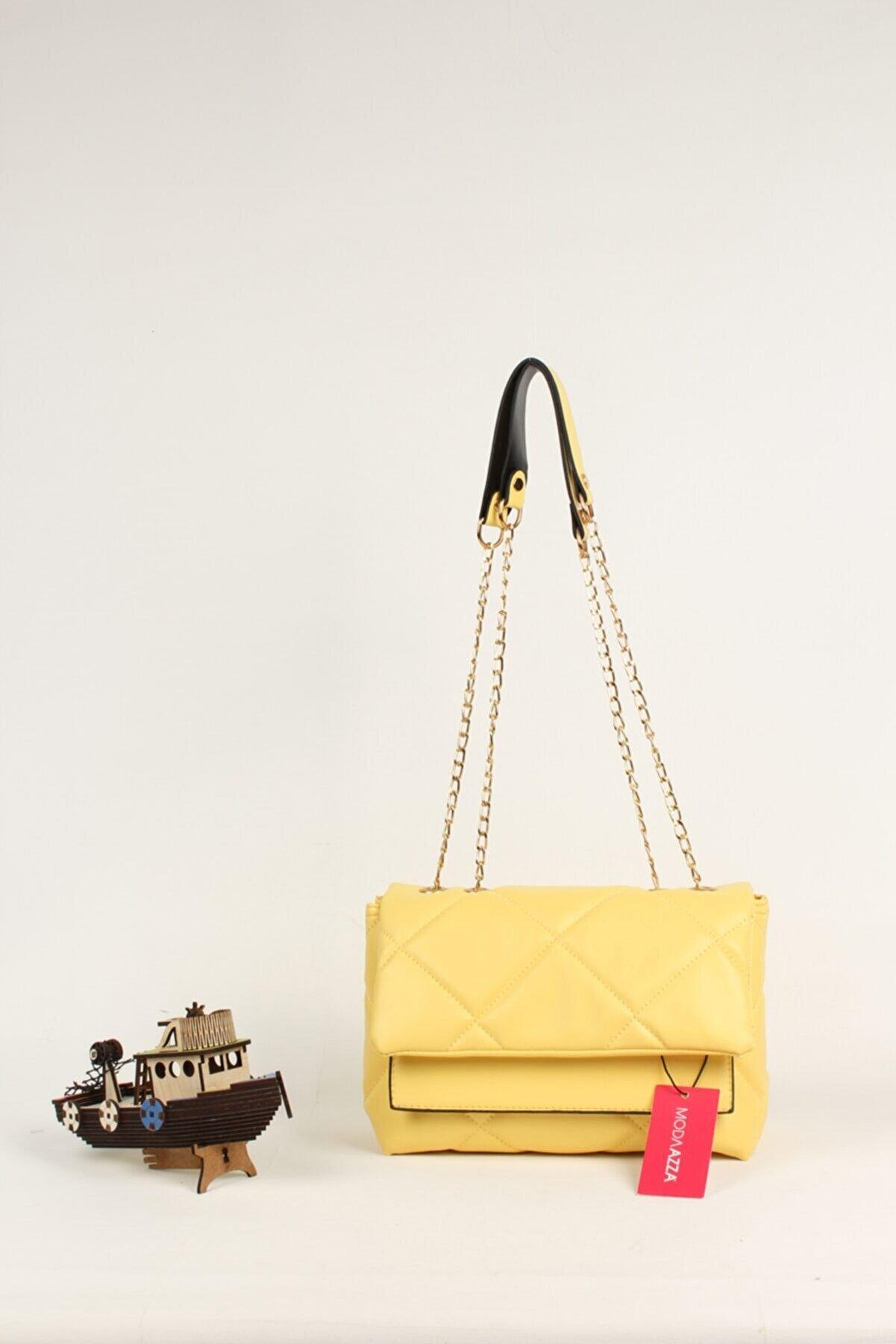 Moda azza Kadın Açık Sarı Zincir Askı Detaylı Omuz Çantası