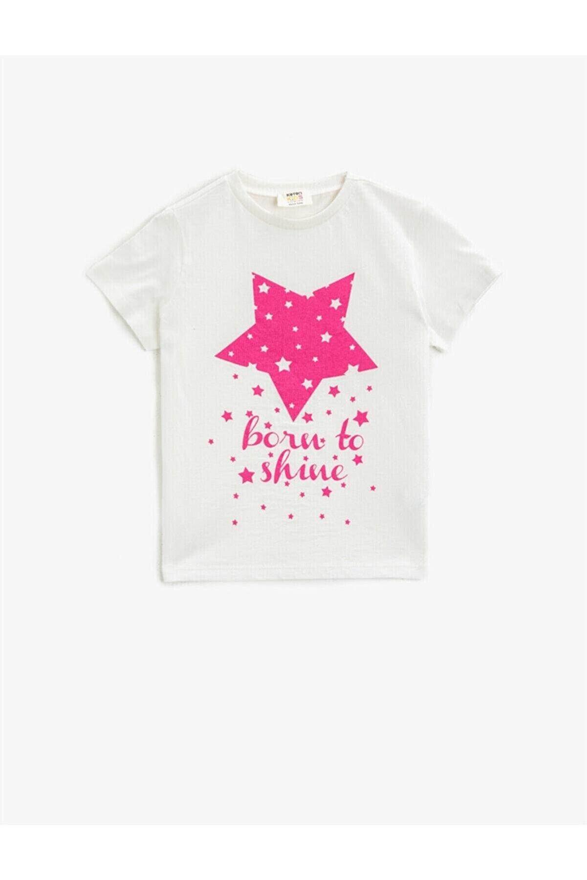 Koton Kız Çocuk Ekru Pamuklu Kısa Kollu Bisiklet Yaka T-Shirt