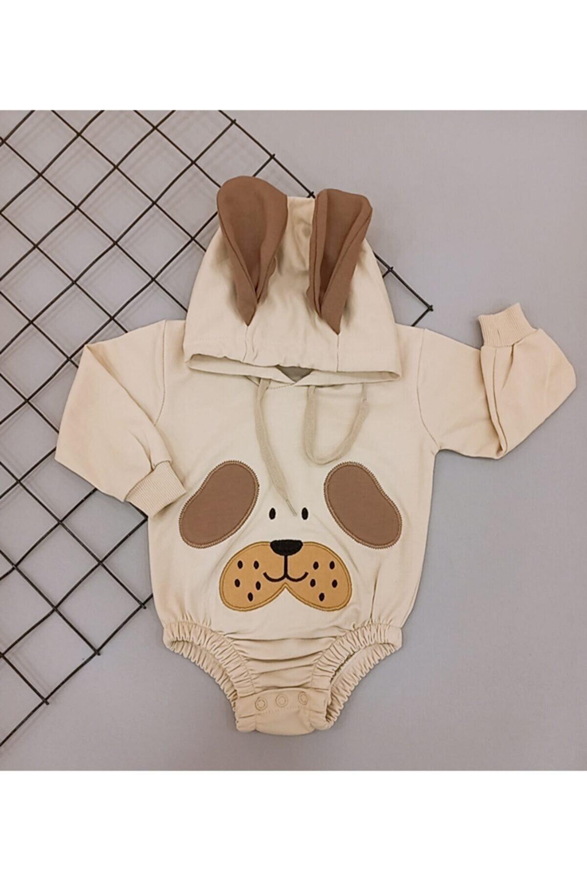 berta baby Unisex Bebek Kahverengi Kapşonlu Kulaklı Sweet