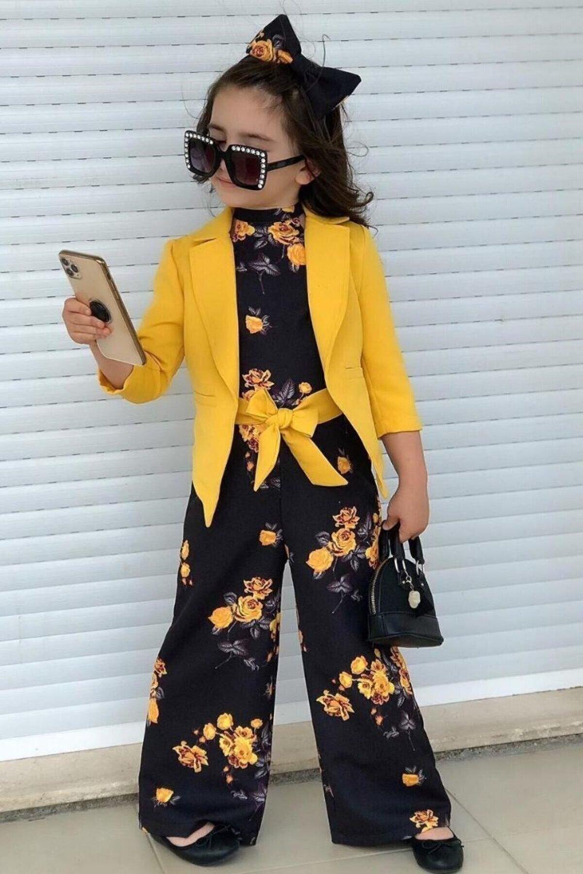 Riccotarz Kız Çocuk Sarı Fashion Flowers Tulum