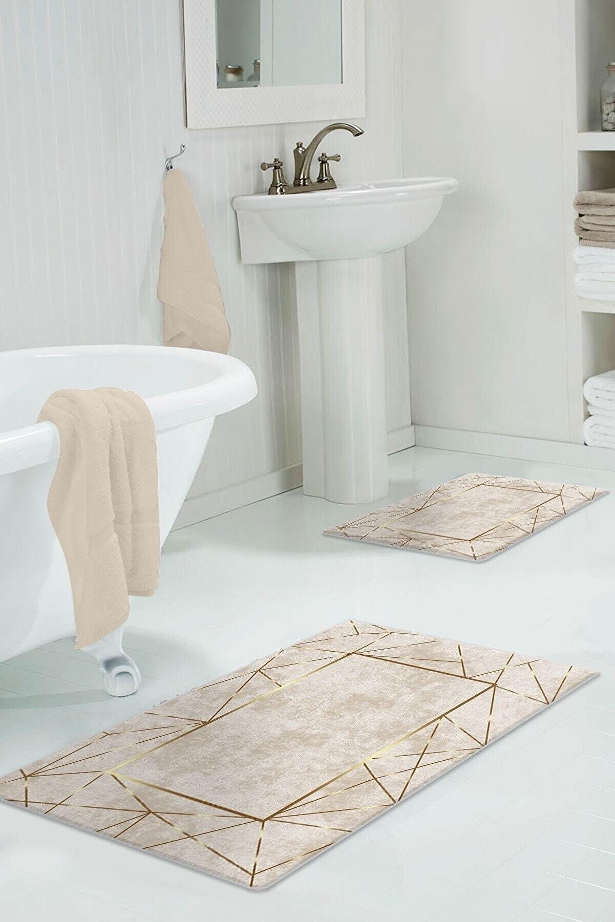 Colizon 60x90 - 50x60 Alya Gold Dijital Banyo Paspası 2'li Klozet Takımı