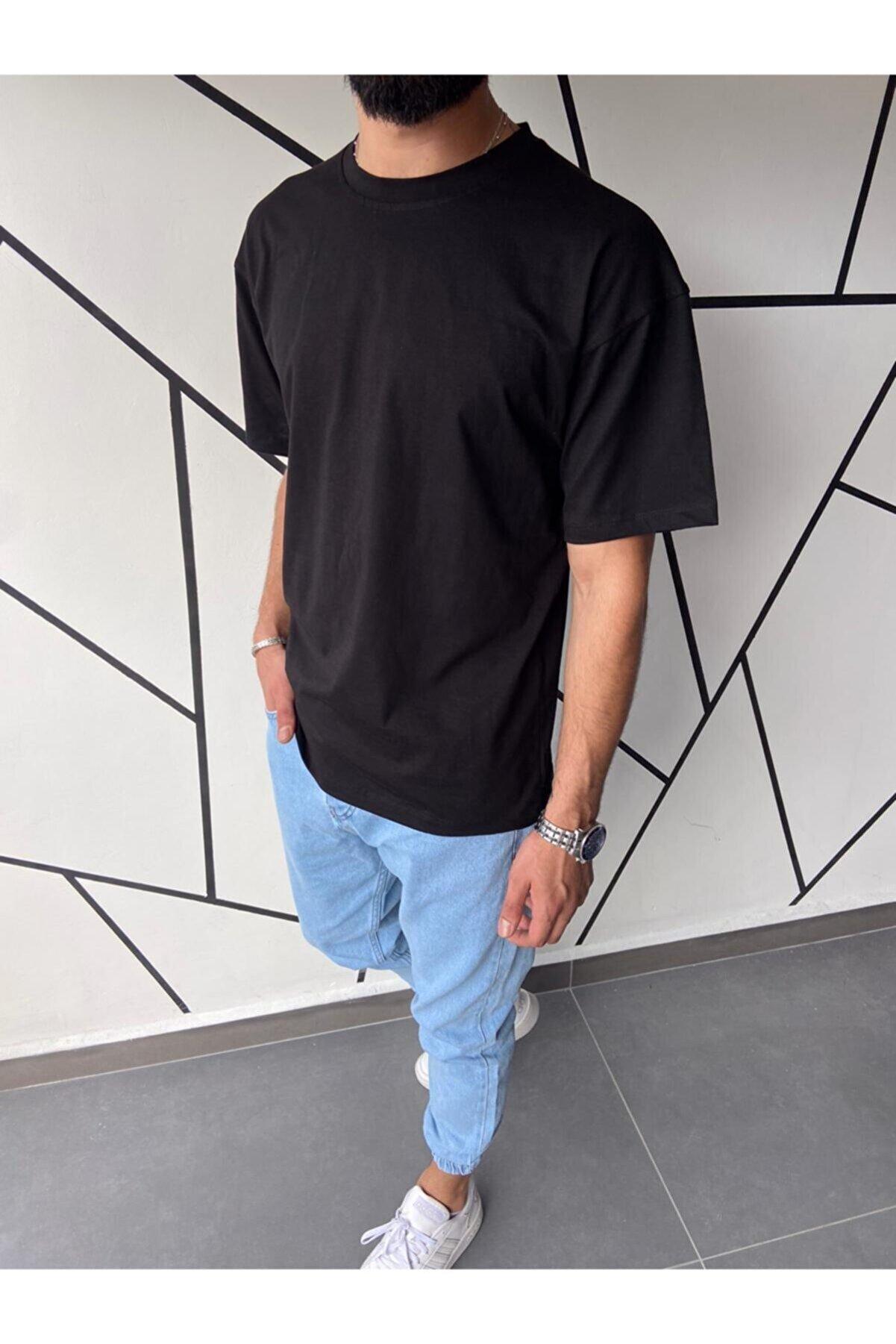 HOZGİYİM Erkek Oversize Siyah T-shirt