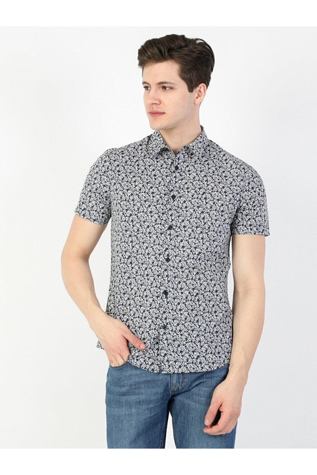 Colin's Slim Fit Shirt Neck Erkek Lacivert Kısa Kol Gömlek