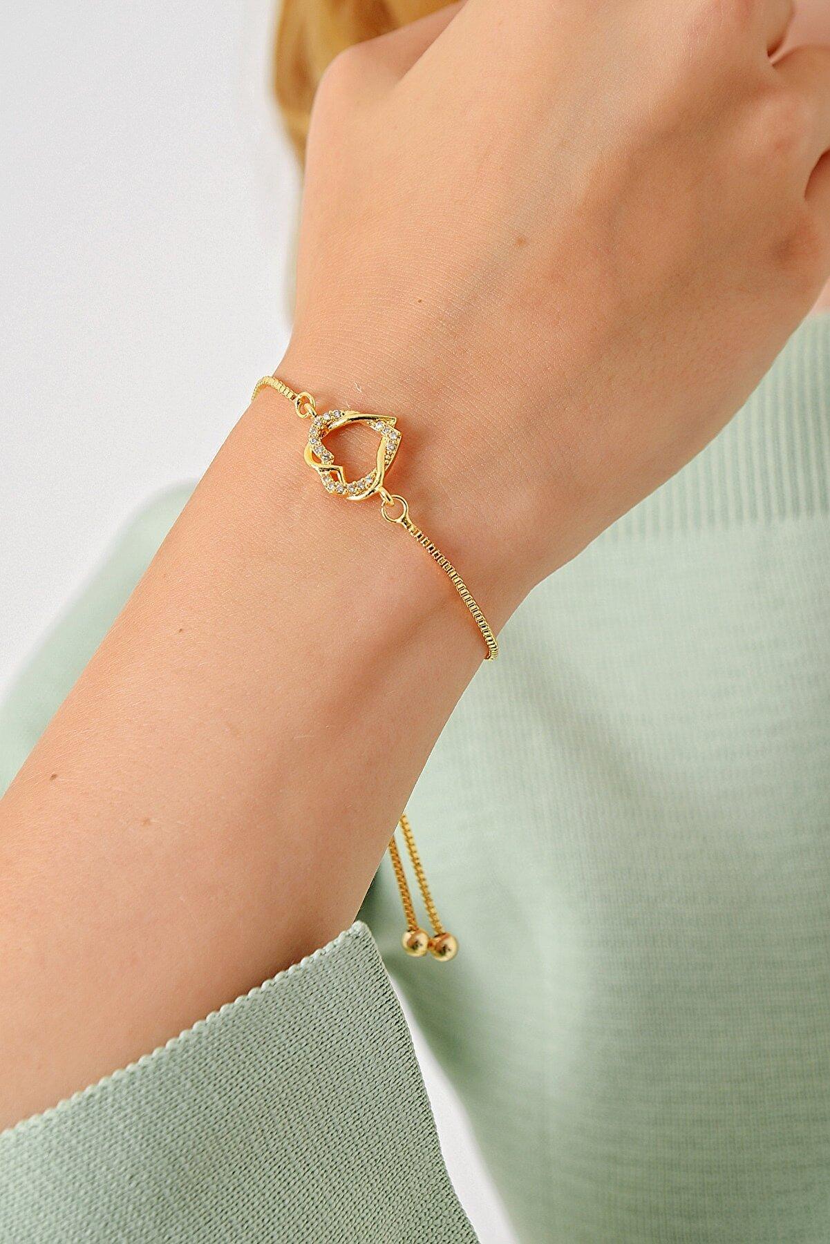 Trend Alaçatı Stili Kadın Gold Asansörlü Gold Taşlı Bileklik ALC-A1975