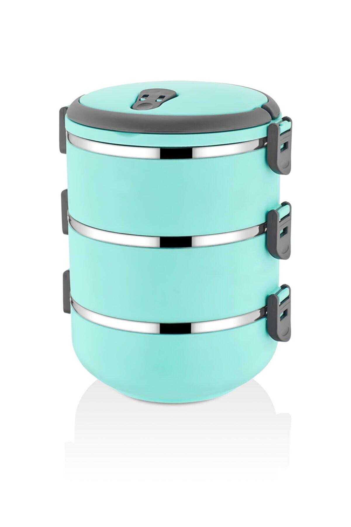 FreshBox 3 Katlı Sızdırmaz Yemek Termosu Sefer Tası Saklama Kabı Turkuaz 2,25 Litre