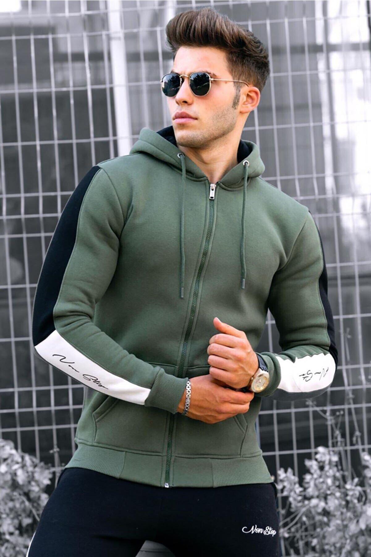 Madmext Erkek Haki Fermuarlı Kapüşonlu Sweatshirt 4737