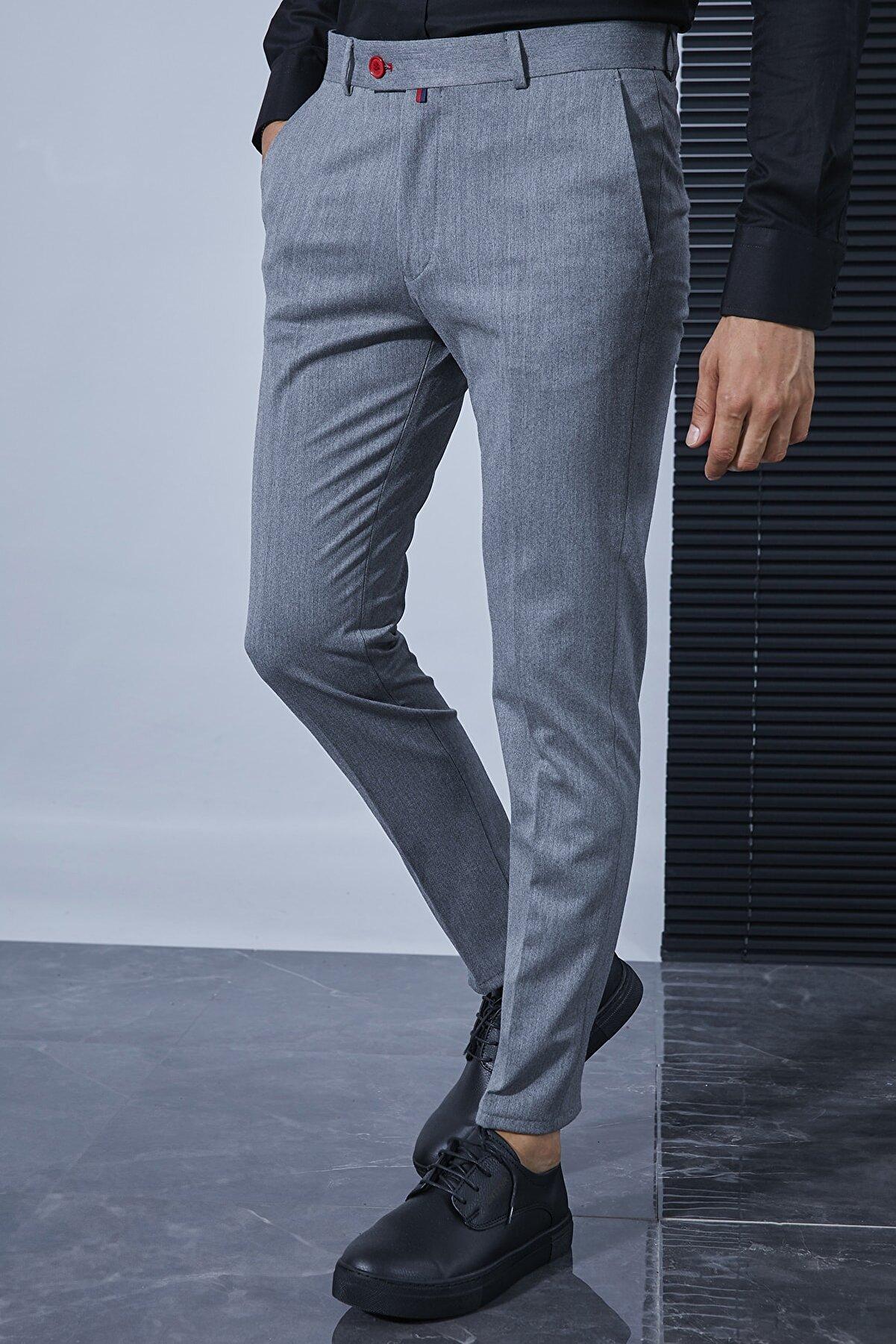 Sateen Men Erkek Gri Kumaş Pantolon