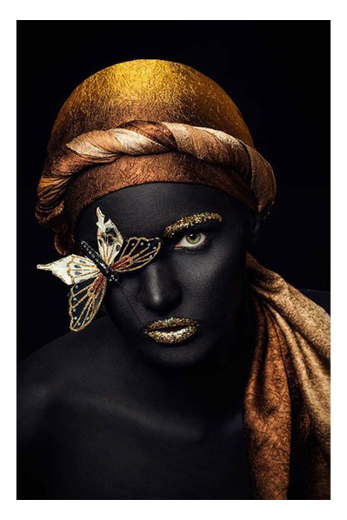 Hobimania Kanvas Tablo Kelebekli Afrikalı Kadın 50x70 Cm Yaylera Dekoratif Moda Duvar Dekorasyon Tablo