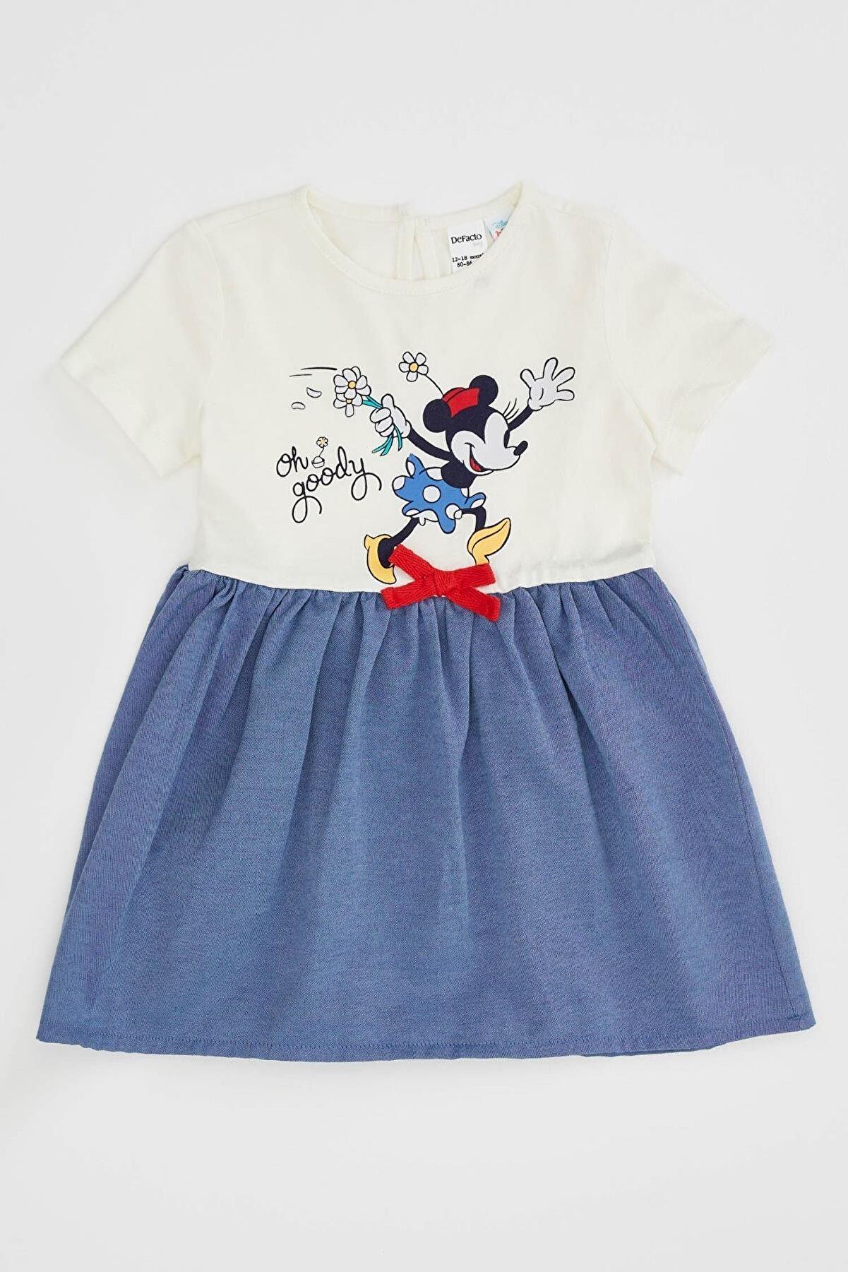 Defacto Kız Bebek Disney Mickey & Minnie Lisanslı Regular Fit Elbise