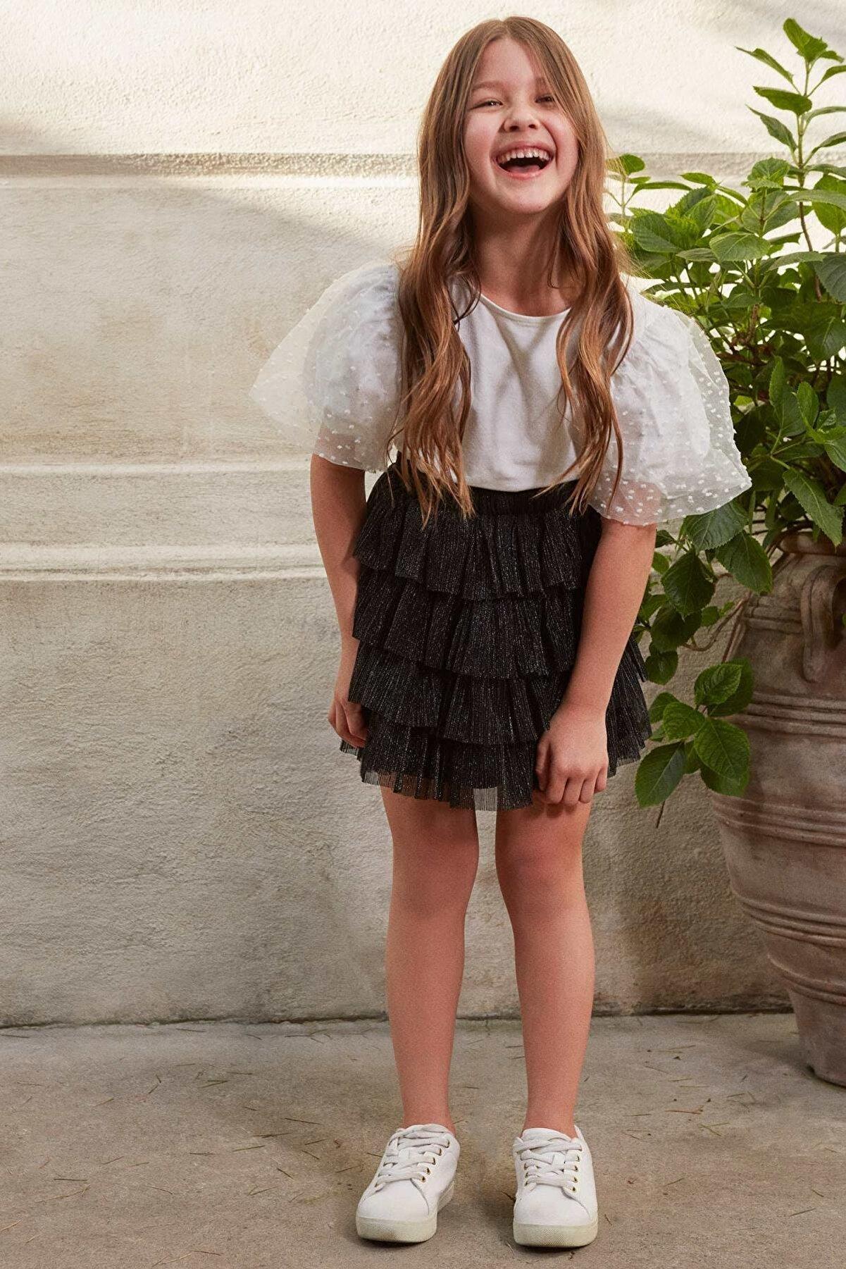 Defacto Kız Çocuk Regular Fit Tül Örme Etek