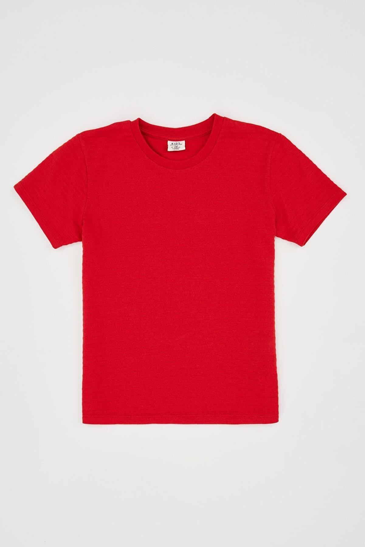 Defacto Erkek Çocuk Bisiklet Yaka Basic Tişört