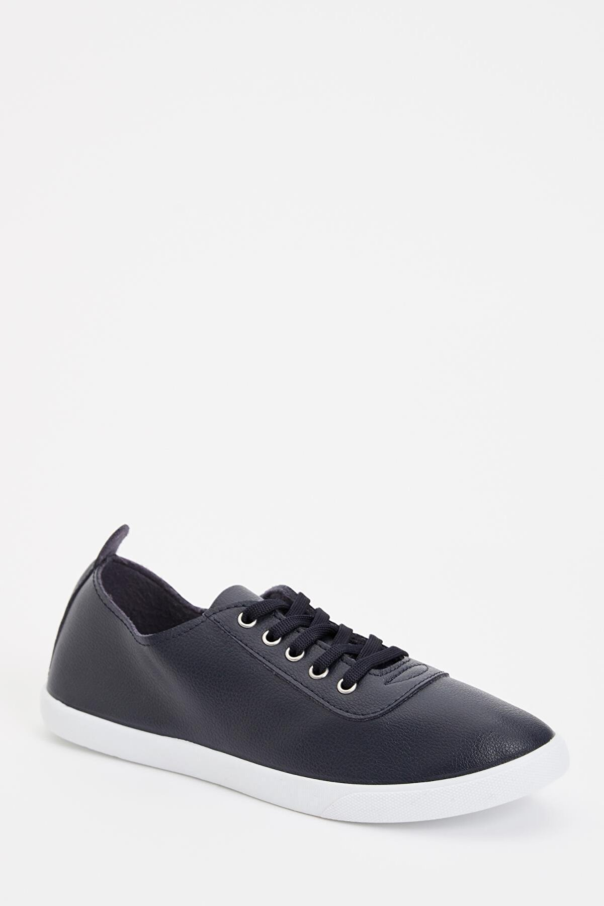 Defacto Kadın Lacivert Suni Deri Bağcıklı Sneaker Ayakkabı M0232AZ19AUNV
