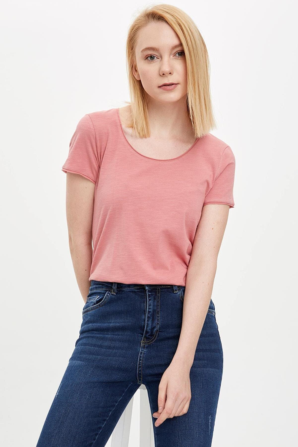 Defacto Kadın Bordo Pis Yakalı Kısa Kollu T-Shirt K1508AZ.20SP.BR96