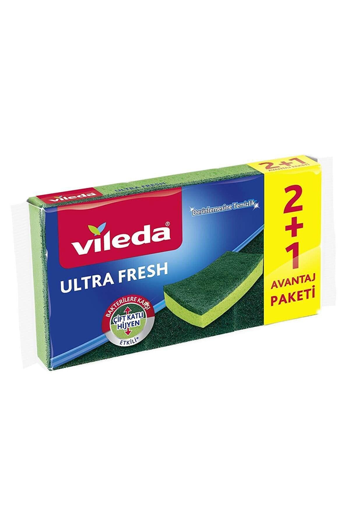 Vileda Ultrafresh Bakterilere Karşı Etkili 2+1 Düz Sünger