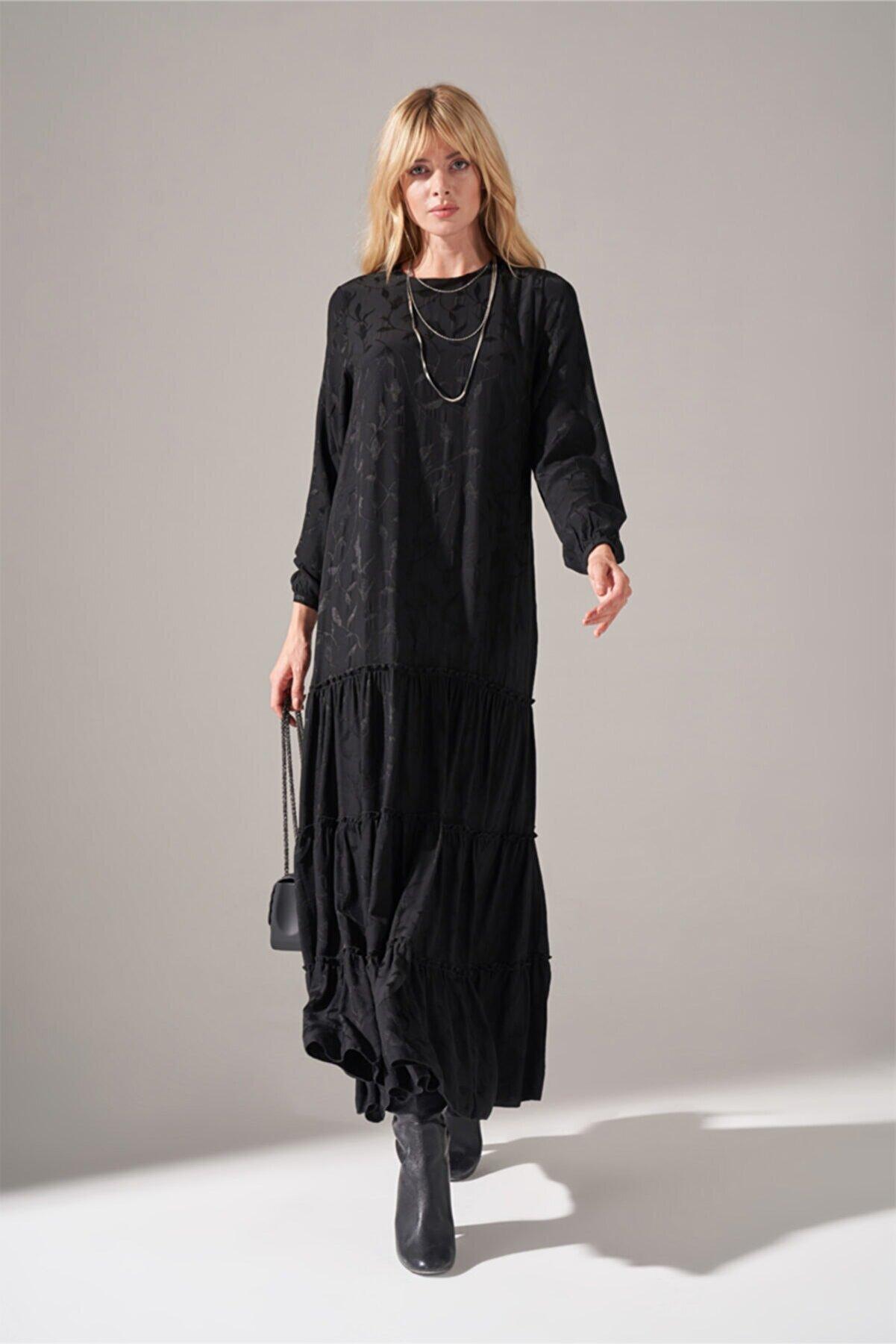 Mizalle Alt Etek Fırfırlı Elbise (SİYAH)