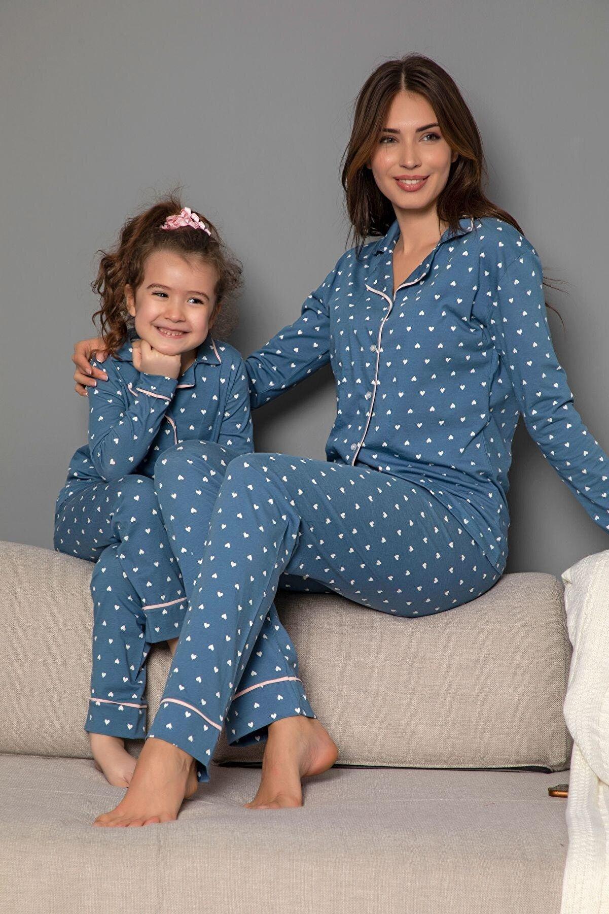 Siyah İnci Kadın Koyumavi Pamuklu Likrali Biyeli Düğmeli Pijama Takım